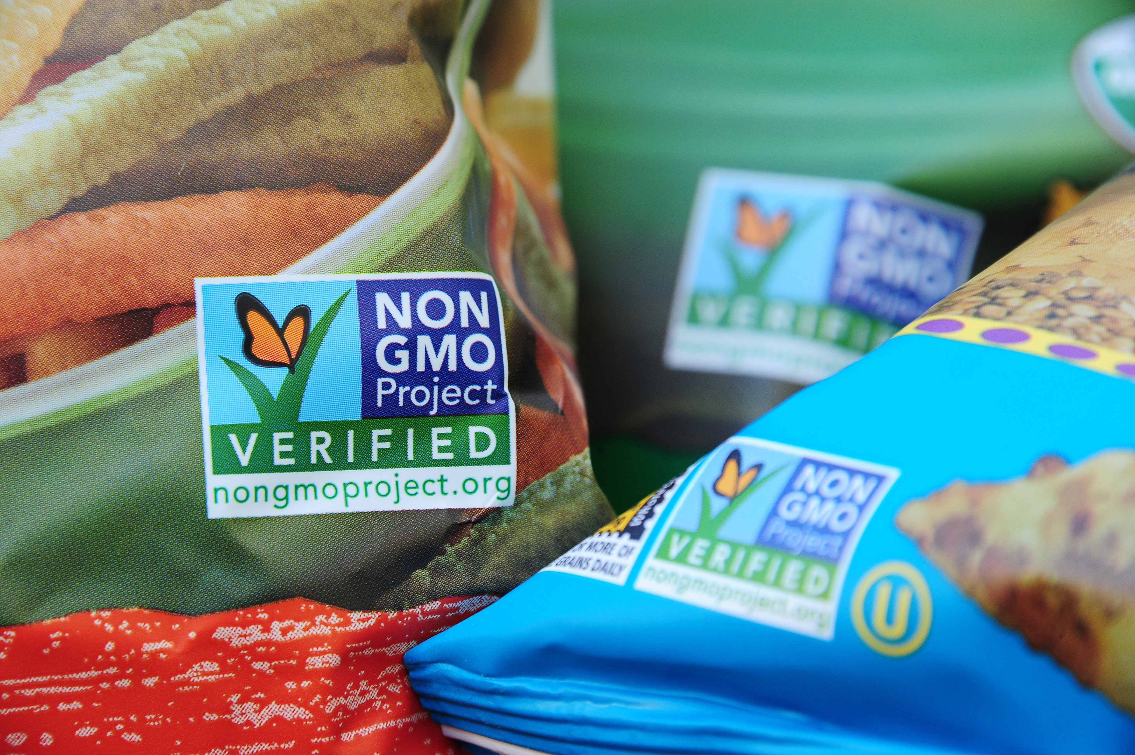 Labels on bags of snack foods indicate they are non-GMO products, Los Angeles, California,  Oct. 19, 2012.