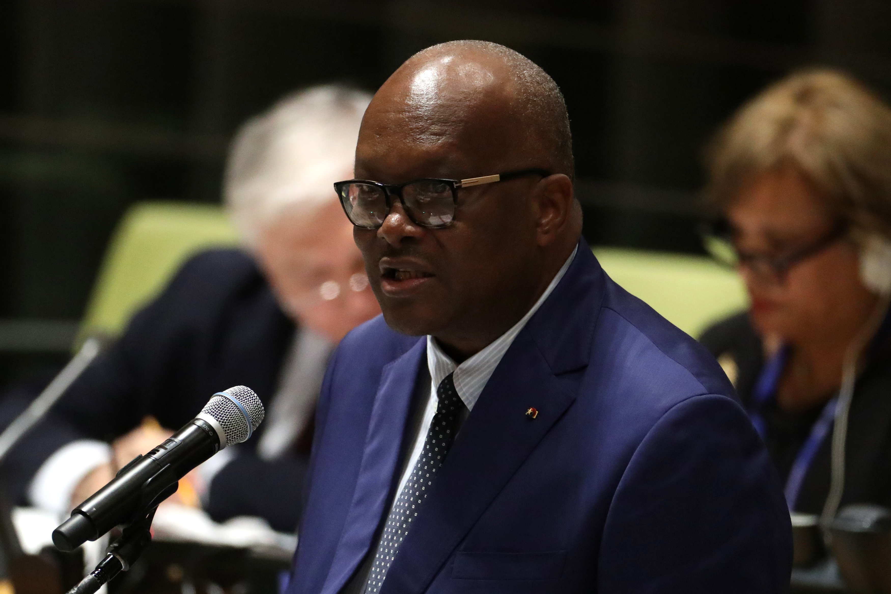 FILE - Burkina Faso's President Roch Marc Christian Kabore addresses the United Nations Summit for Refugees and Migrants, in the Trusteeship Council Chamber of the United Nations, Sept. 19, 2016.