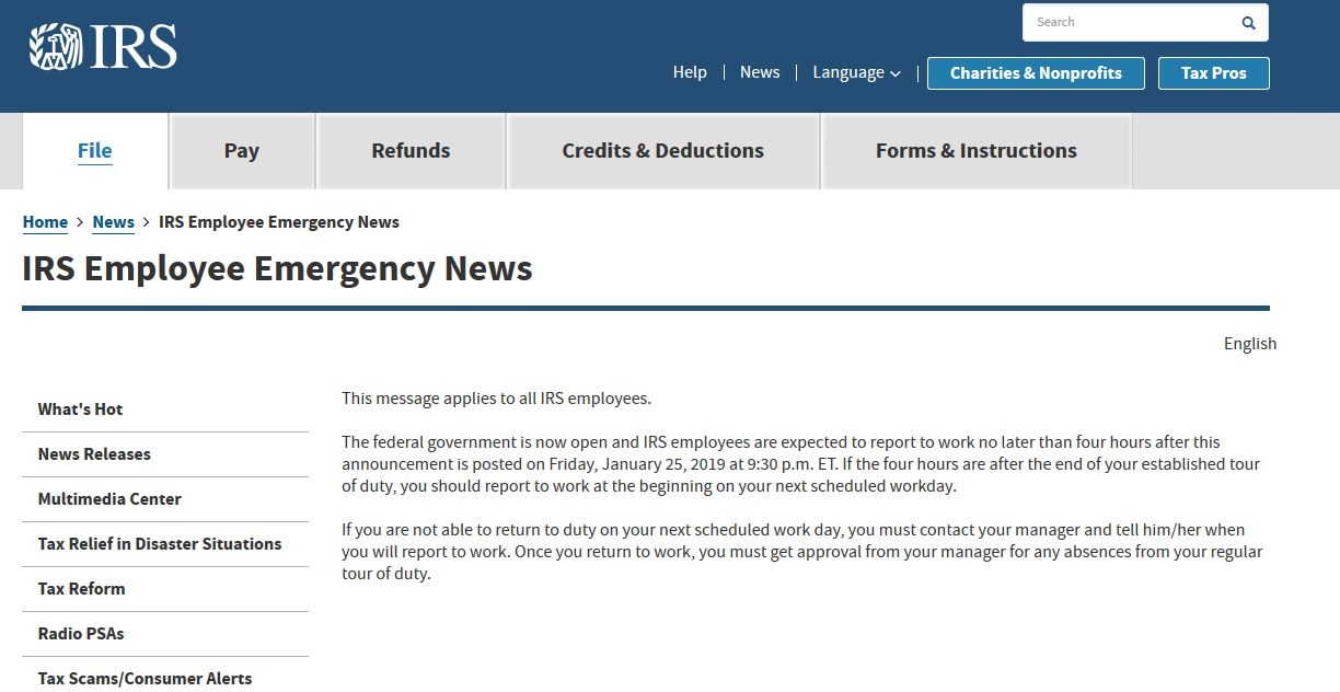 Message to Internal Revenue Service employees regarding the end of the partial government shutdown.