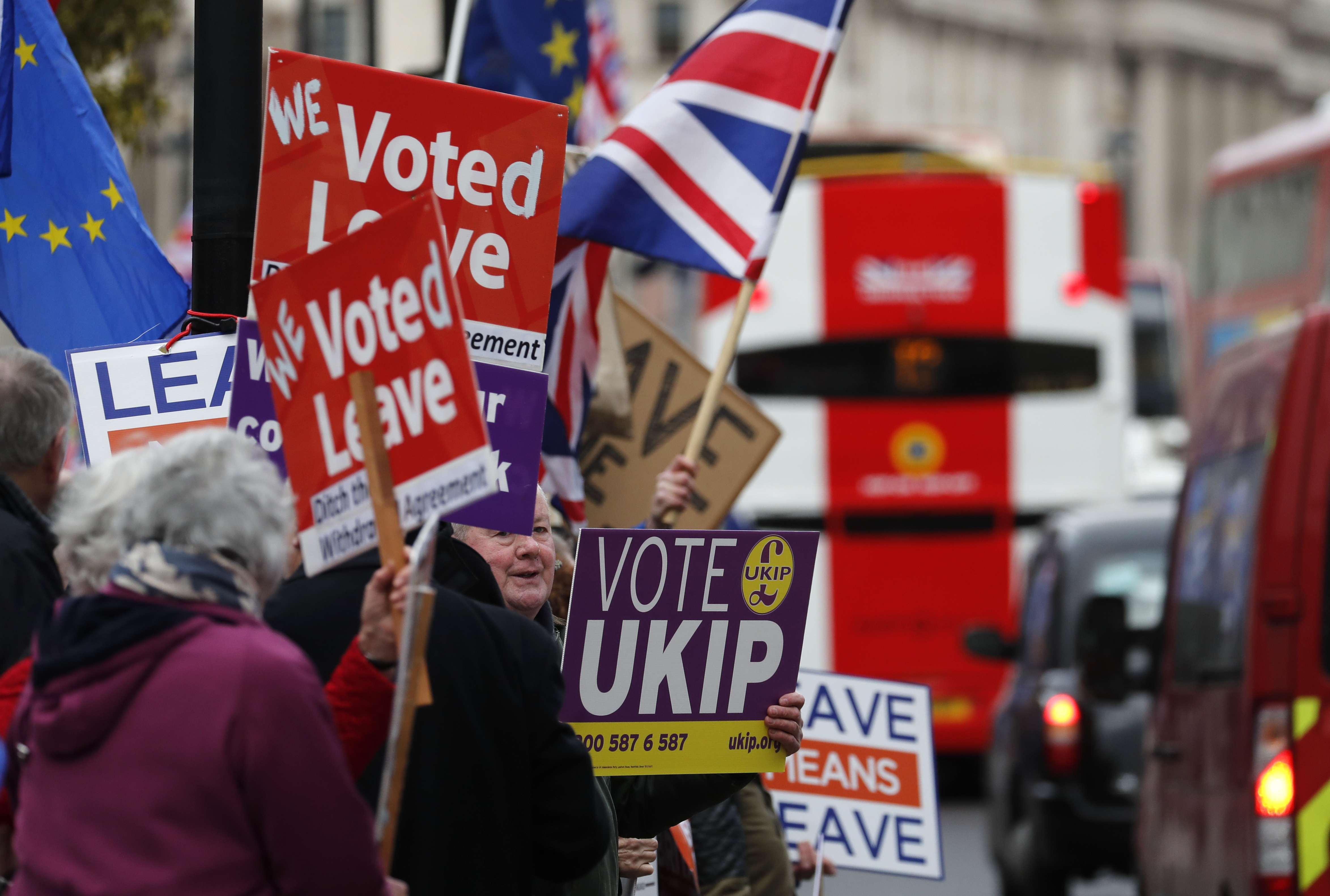 Brexit supporters protest opposite the Houses of Parliament in London, Britain, Jan. 15, 2019.