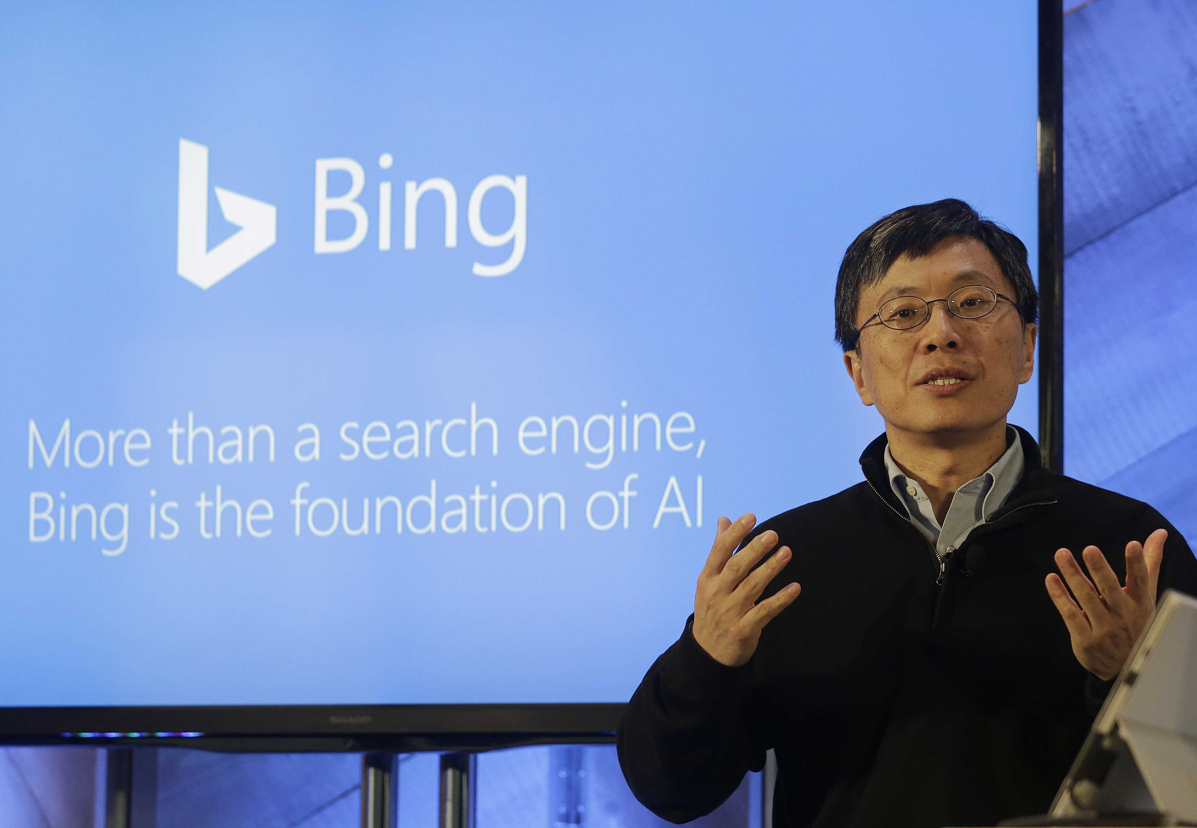 Harry Shum,executive vice president ofMicrosoft'sArtificial Intelligence and Research, speaks at a Microsoft event in San Francisco, California, Dec. 13, 2017.