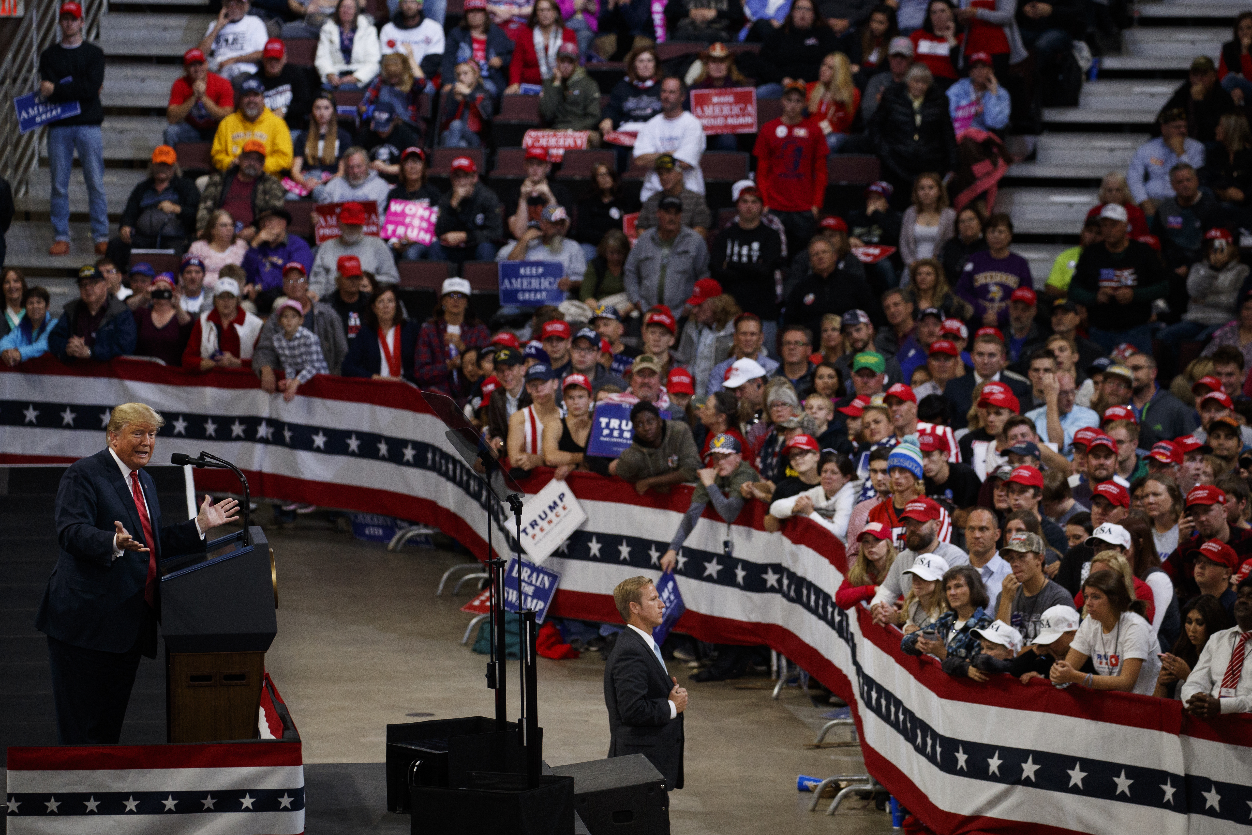 President Donald Trump speaks during a campaign rally at the Mayo Civic Center, Oct. 4, 2018, in Rochester, Minn.