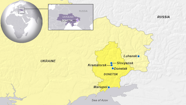 Cities of Donestsk, Slovyansk and Kramatorsk, Ukraine