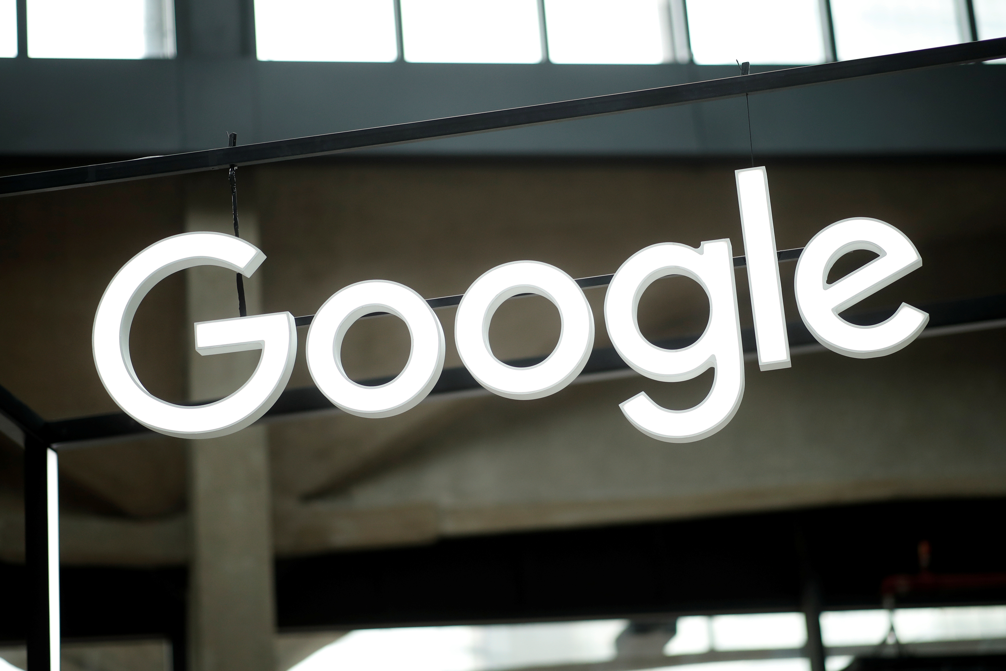 FILE - The Google logo is seen at a start-up campus in Paris, France, Feb. 15, 2018.