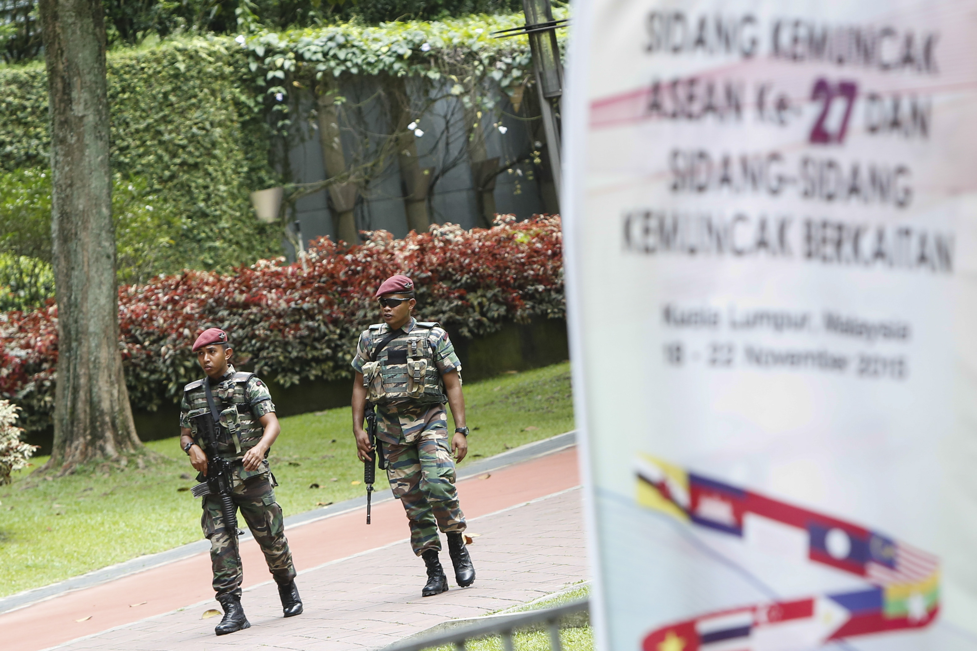 Malaysian military personnel patrol at the 27th Association of Southeast Asian Nations (ASEAN) summit in Kuala Lumpur, Malaysia, Thursday, Nov. 19, 2015.