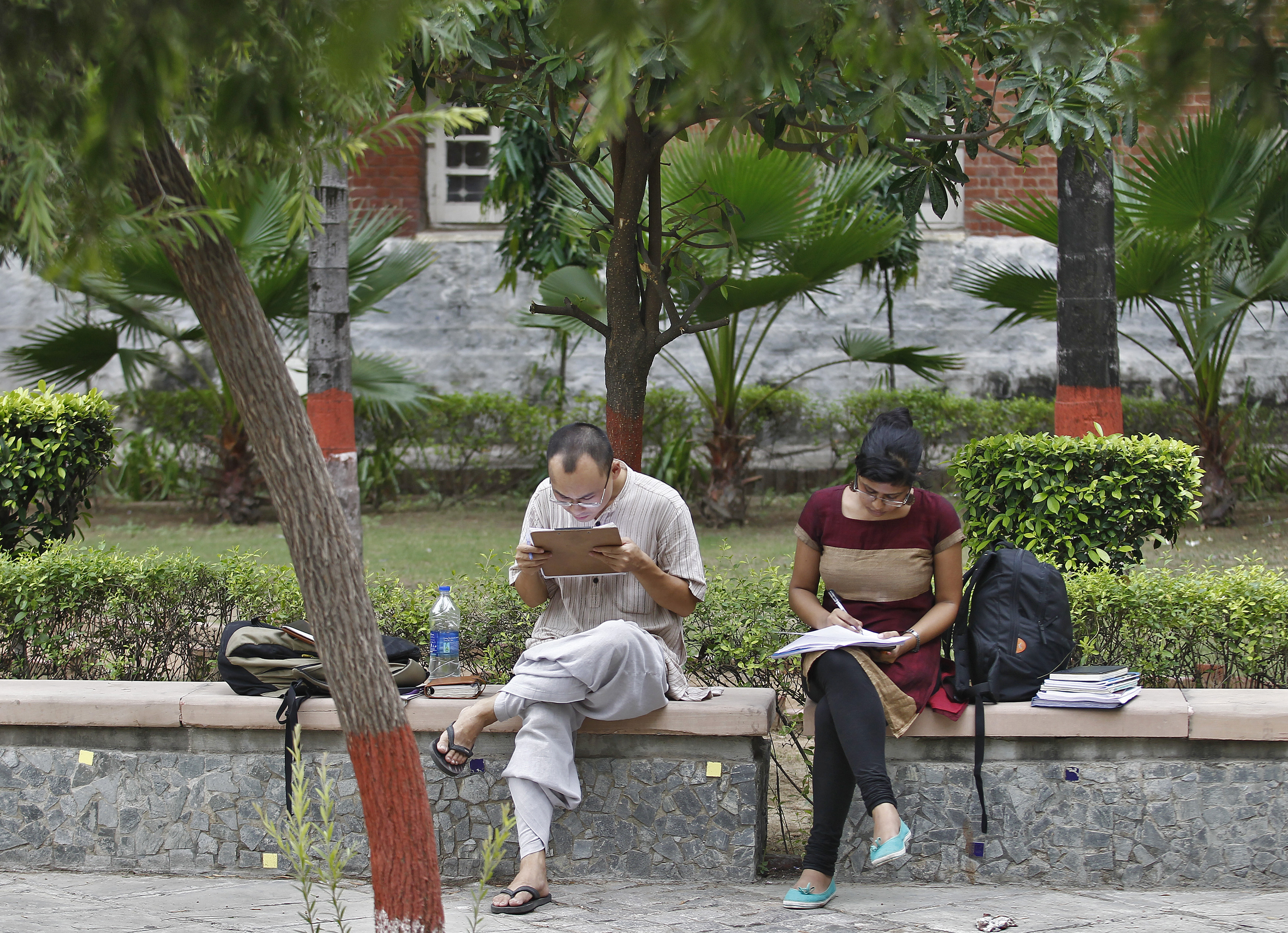 Indian students study inside the Delhi University campus in New Delhi September 20, 2013. Picture taken September 20, 2013.  To match INDIA-EDUCATION/  REUTERS/Anindito Mukherjee (INDIA - Tags: EDUCATION) - RTR3FJFS