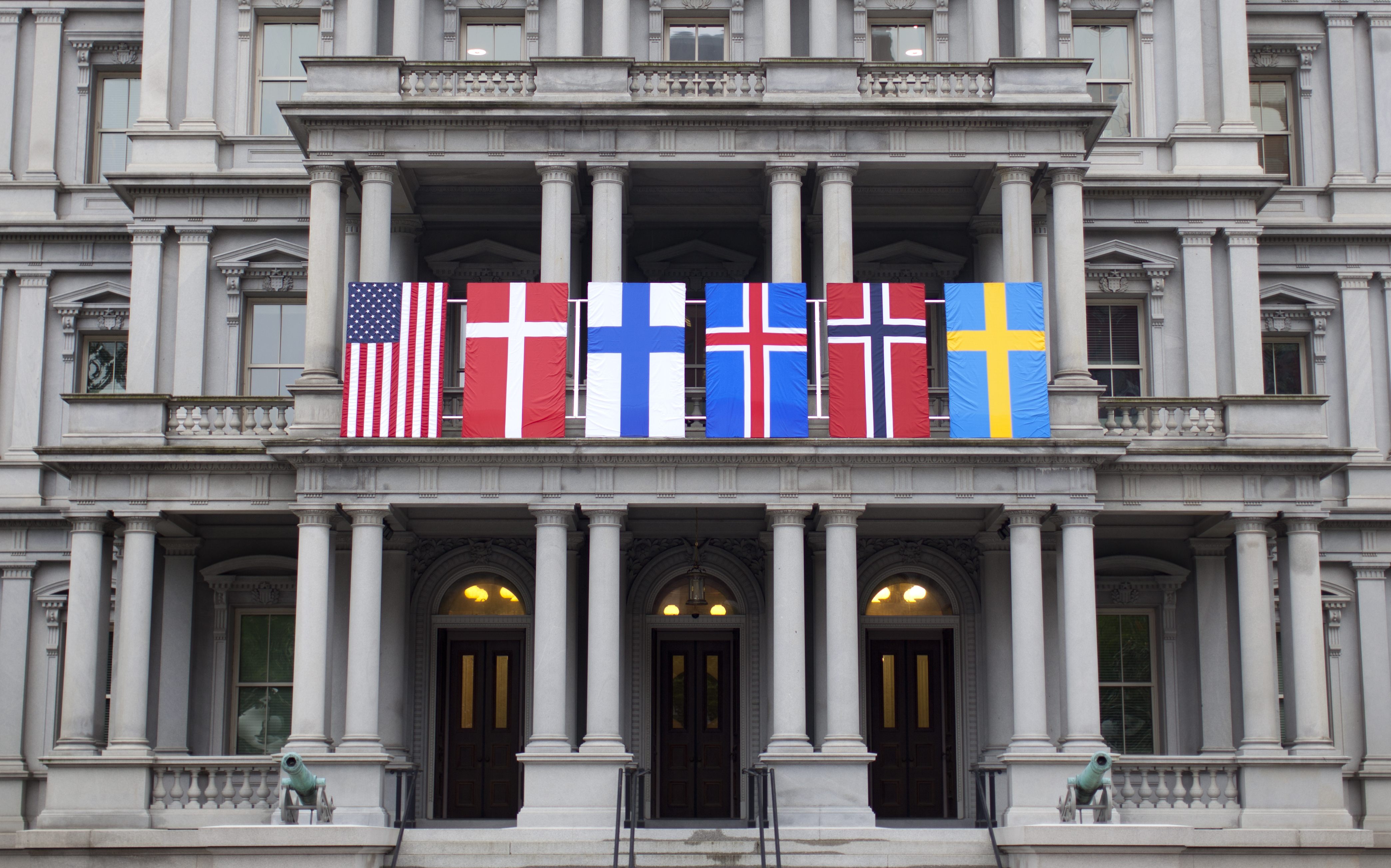 In preparation for the visit of Nordic leaders to the White House, flags are displayed on the Eisenhower Executive Office Building on the White House complex in Washington, May 12, 2016.