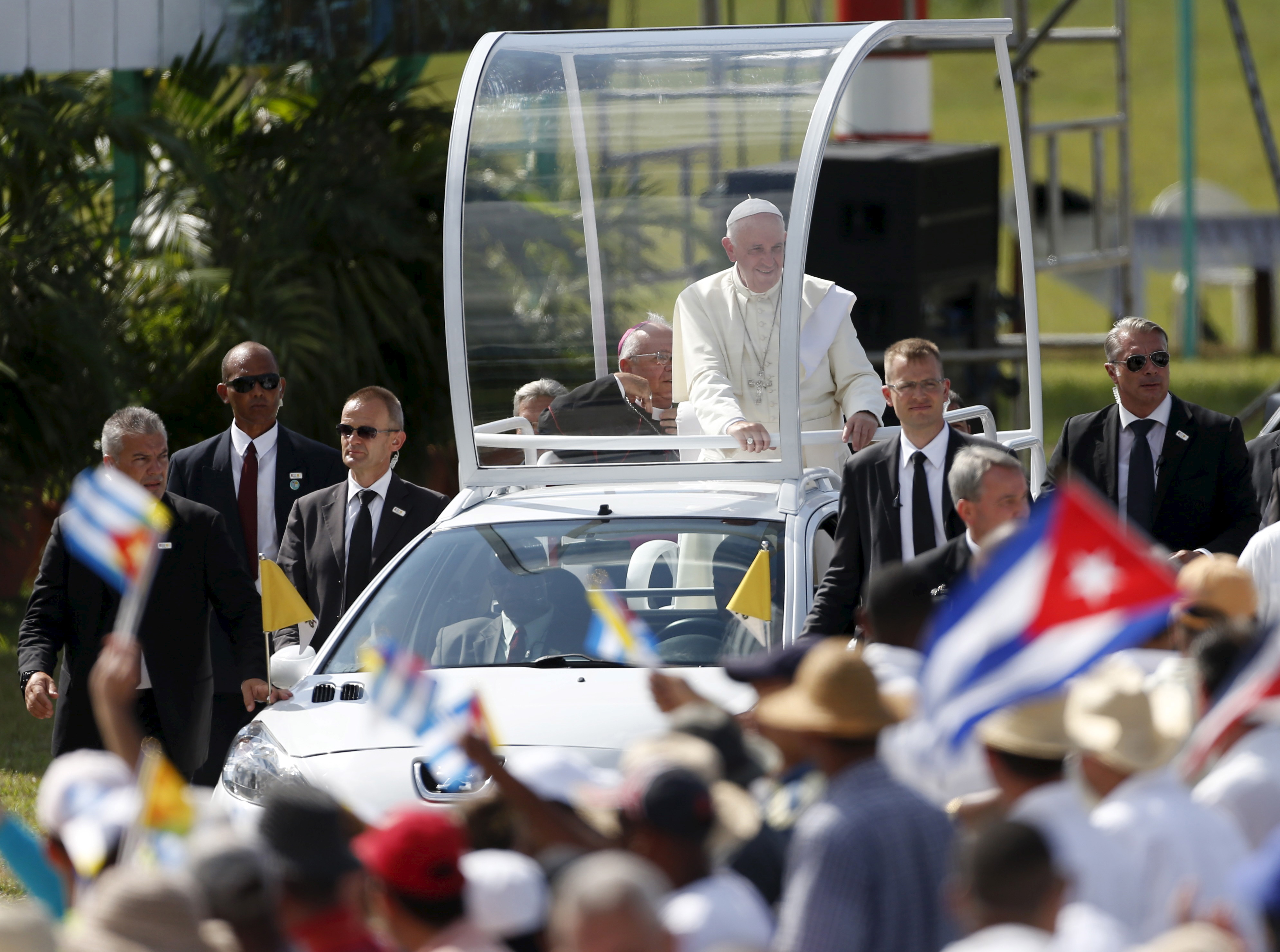 Pope Francis arrives to hold a Mass in Holguin, Cuba, Sept. 21, 2015.