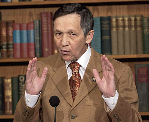 Rep. Dennis Kucinich, D-Ohio speaks during a news conference on Capitol Hill in Washington, Wednesday, March 17, 2010, where he announced he will support President Barack Obama's health care overhaul bill. (AP Photo/Harry Hamburg)