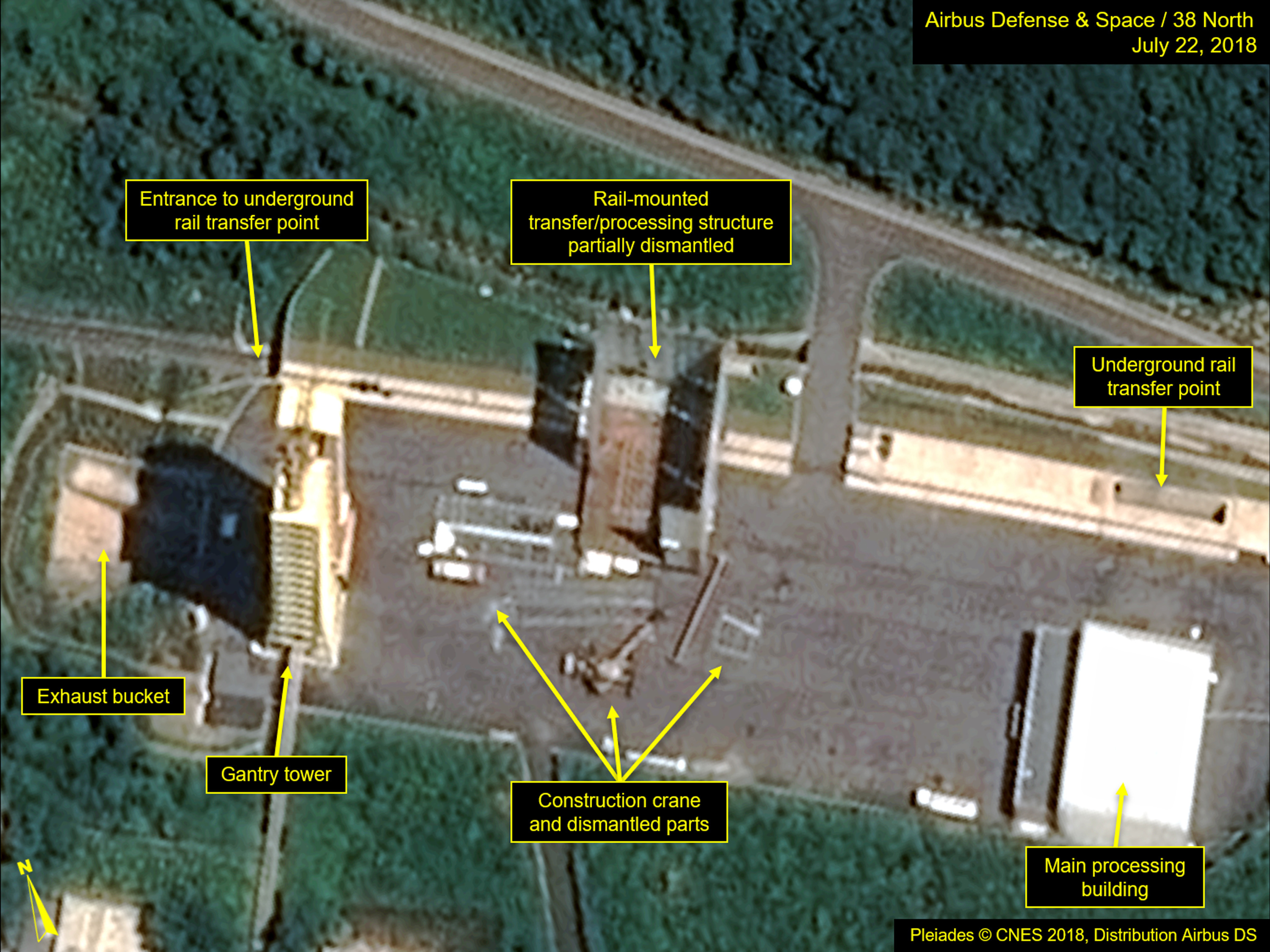 This July 22, 2018, satellite image released and annotated by 38 North on Monday, July 23, shows what the U.S. research group says is the partial dismantling of the rail-mounted transfer structure, at center, at the Sohae launch site in North Korea. ...