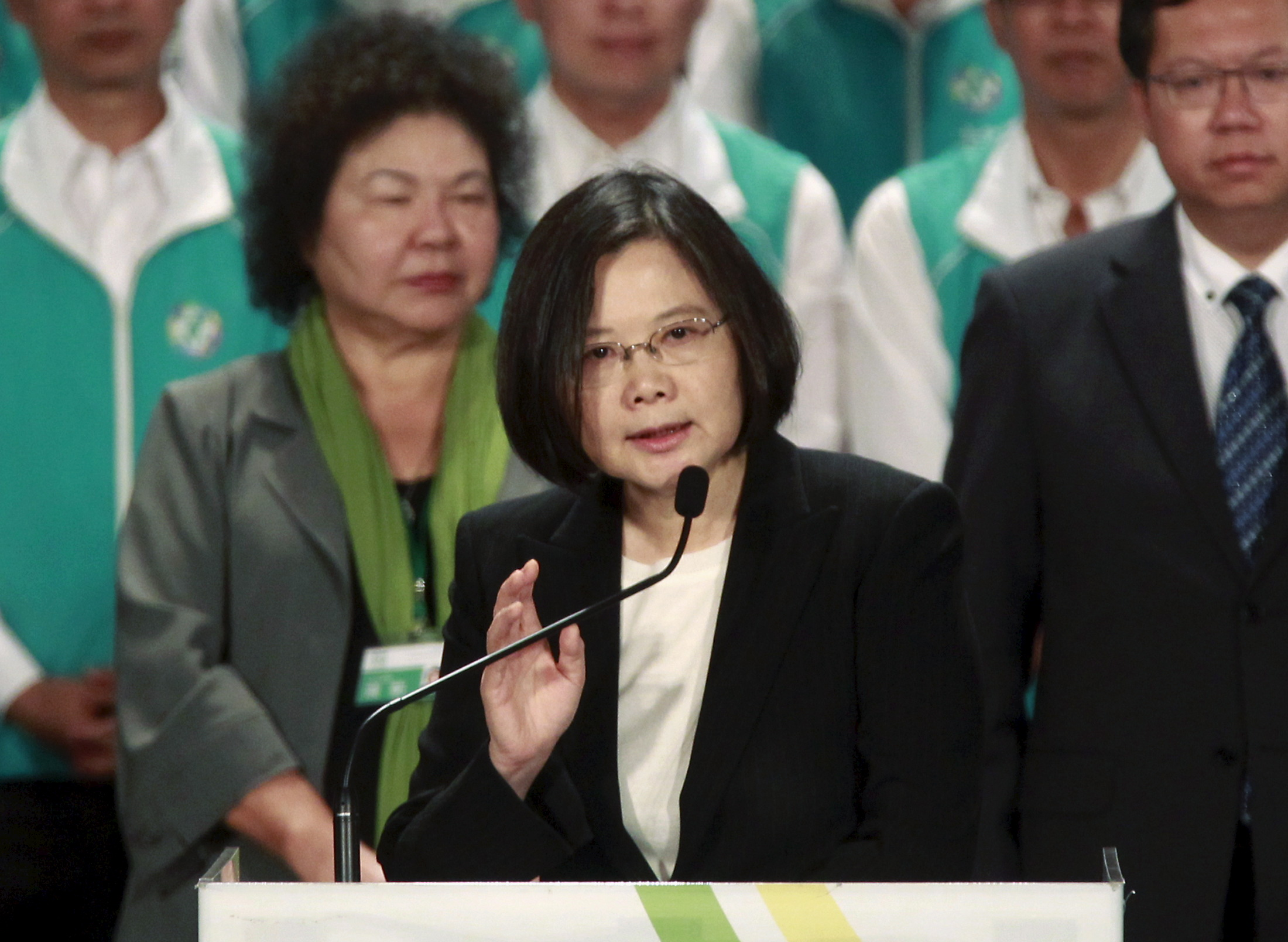 Taiwan's main opposition Democratic Progressive Party (DPP) Chairperson Tsai Ing-wen gives a speech at a party congress in Taoyuan, northern Taiwan, Sept. 19, 2015.