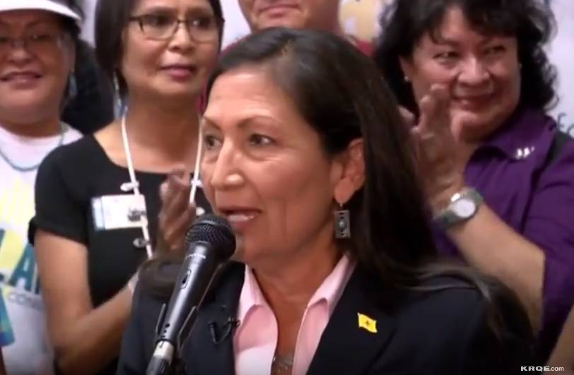 YouTube screengrab of Deb Haaland speaking to supporters after her historic win in New Mexico's primary vote, June 5, 2018.