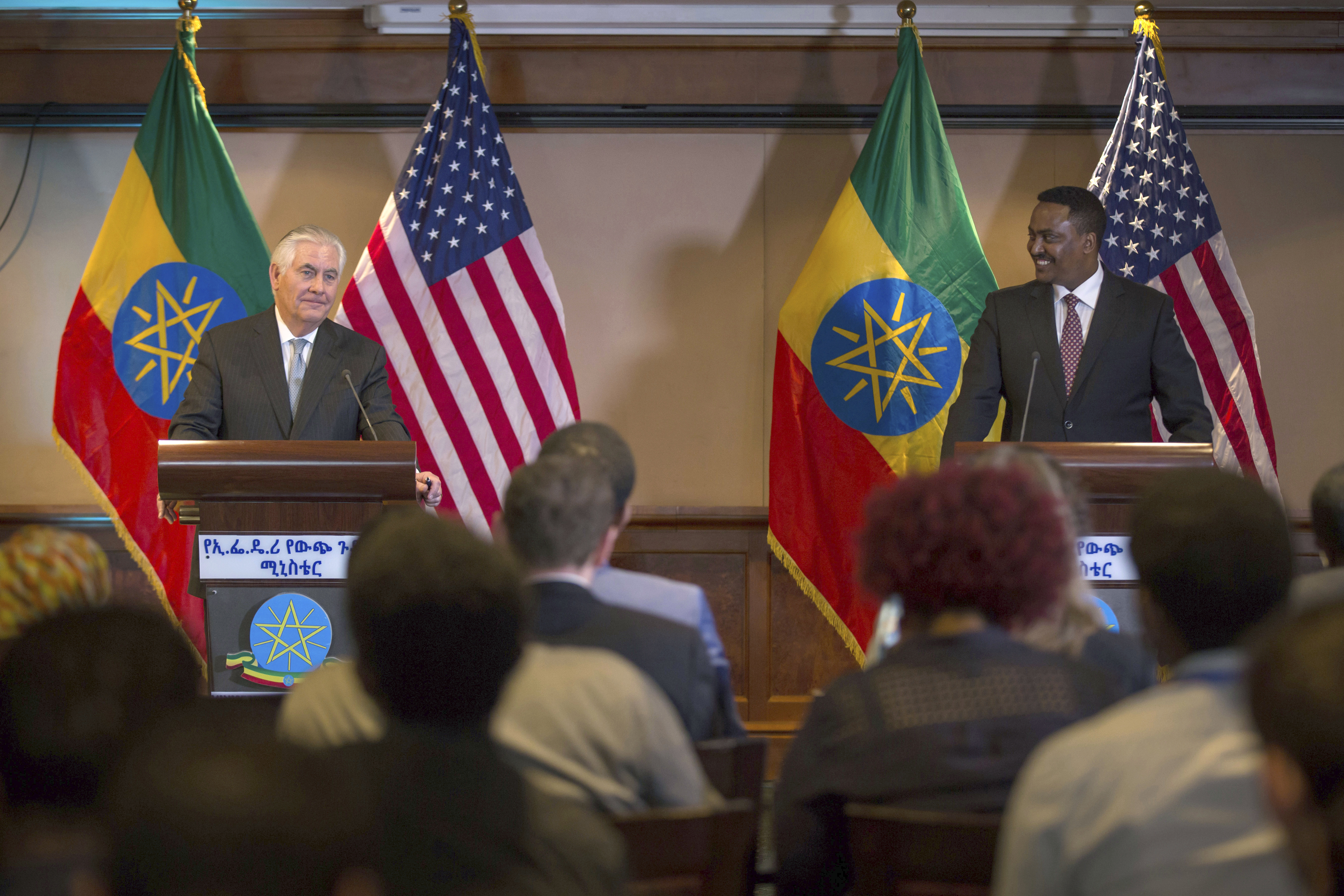 US Secretary of State Rex Tillerson, left, addresses the media after his meeting with Ethiopian Foreign Minister Dr. Workneh Gebeyehu at a joint press conference in Addis Ababa, Ethiopia, March 8, 2018.