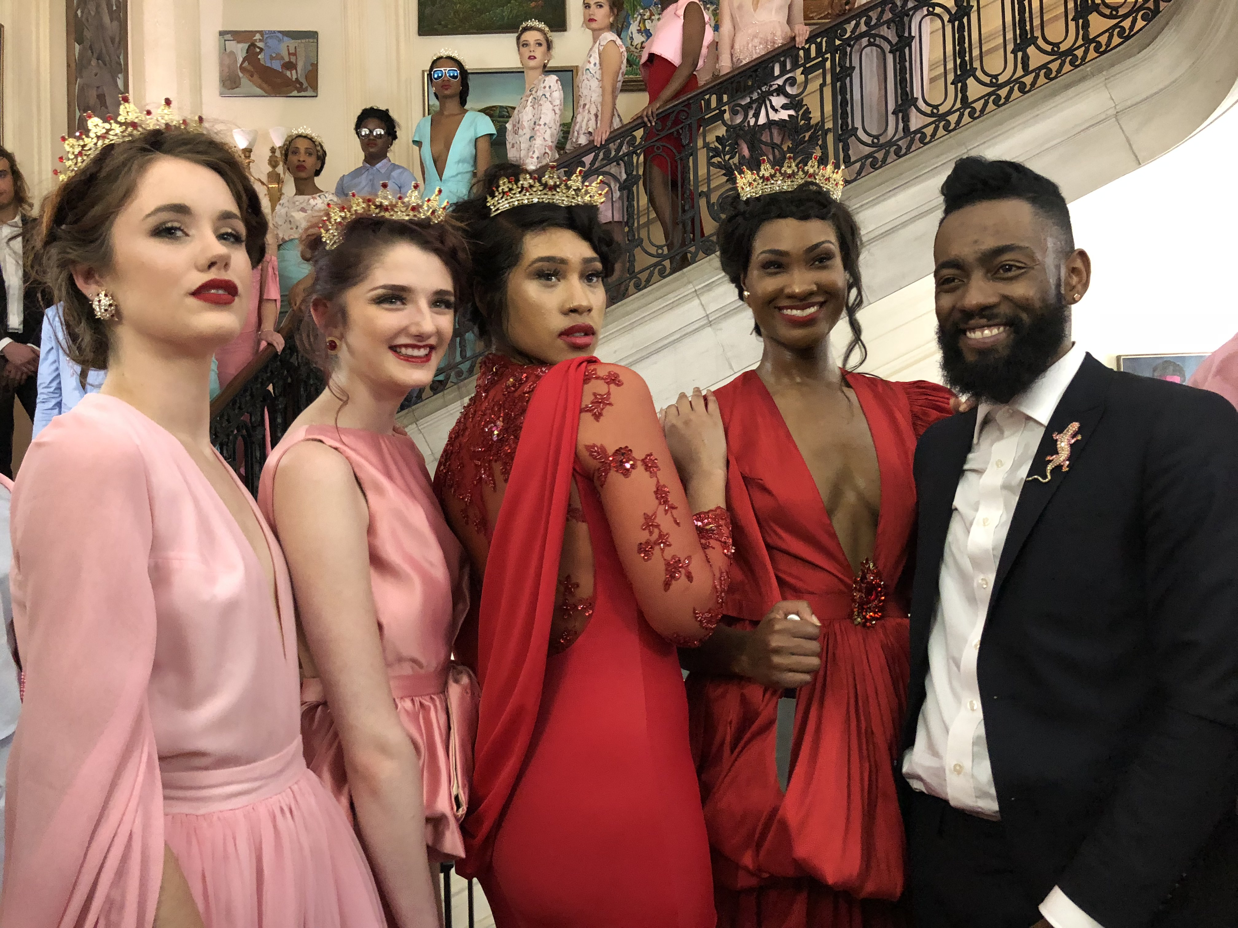 "Haitian designer Prajje Oscar, right, with his models wearing gowns from his ""Ezili"" collection, which were hand-sewn by Haitian artisan women. Prajje's collection was the show stopper at the Haitian Embassy ""Diplomacy By Design"" event, Feb. 23, 2018..."