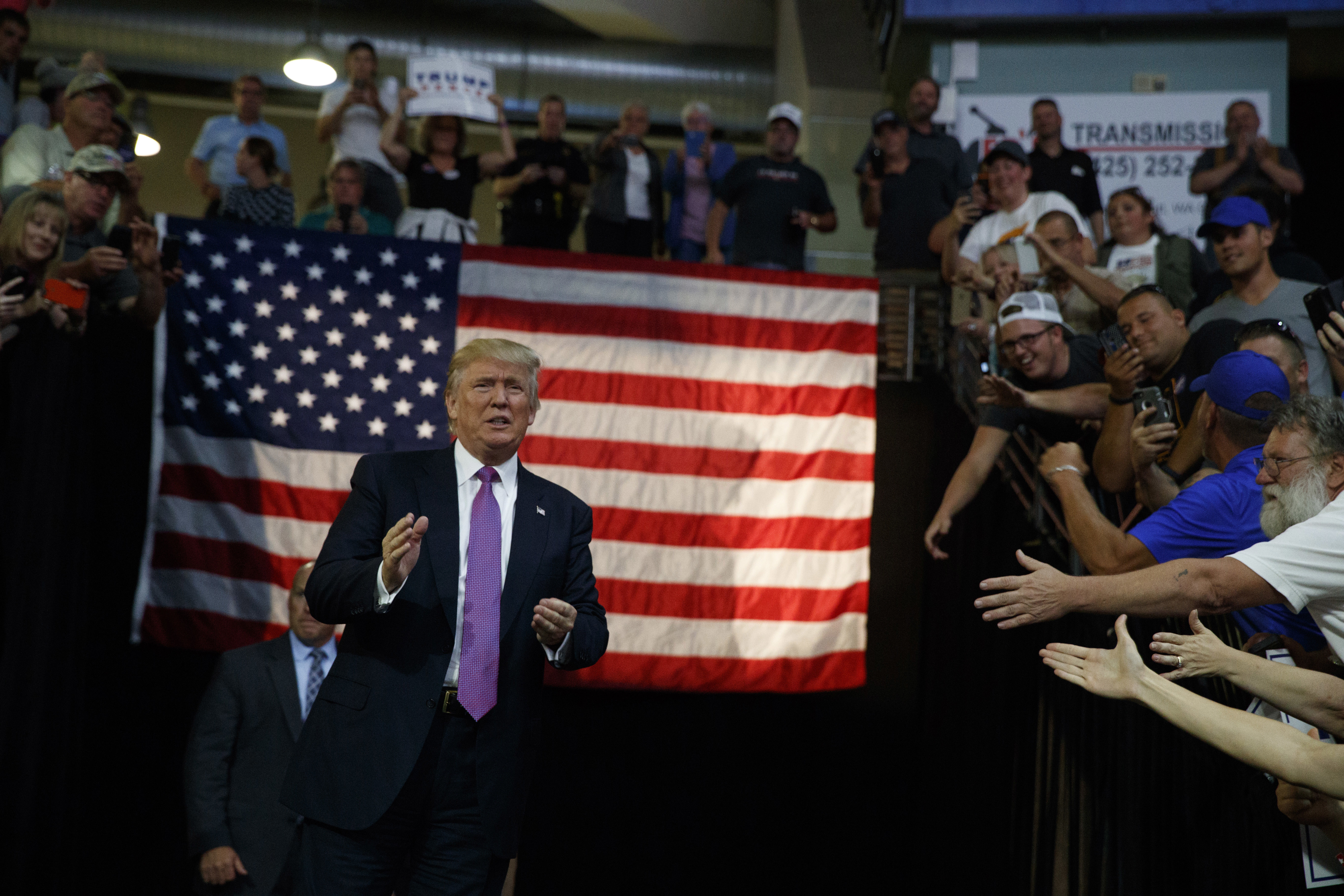 Republican presidential candidate Donald Trump arrives to a campaign rally at Xfinity Arena at Everett, Aug. 30, 2016, in Everett, Wash.