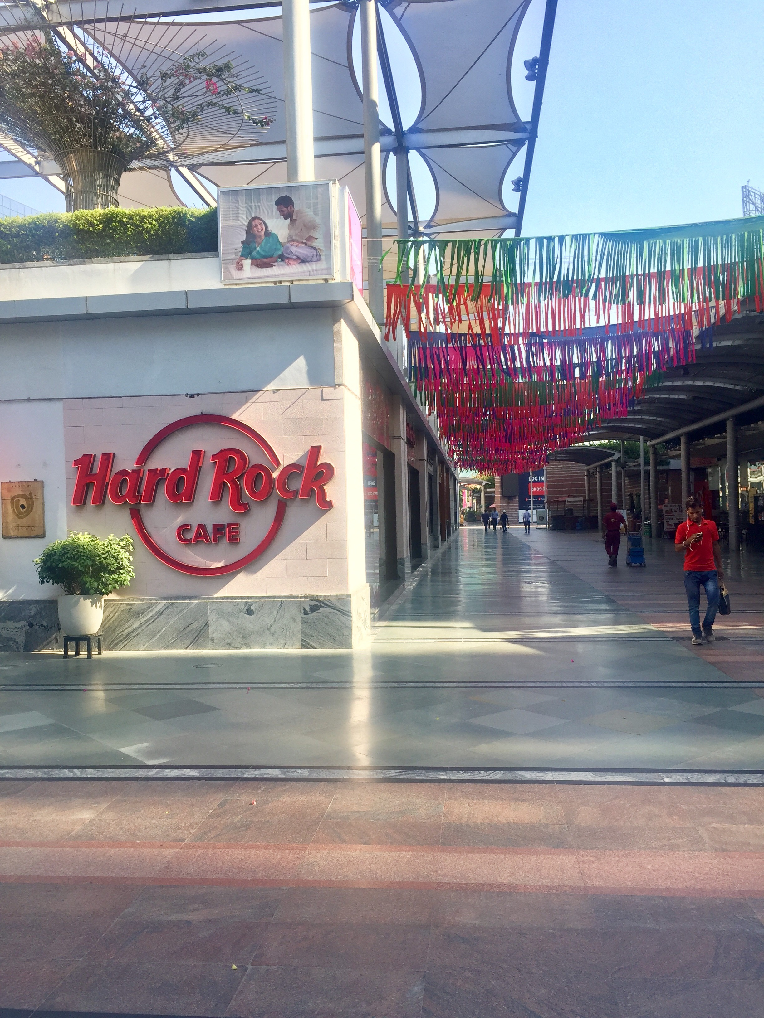 One of the most popular places for youngsters in the business hub of Gurgaon, Cyber Hub, has been decked up for the festive season, but restaurants say business is slow.