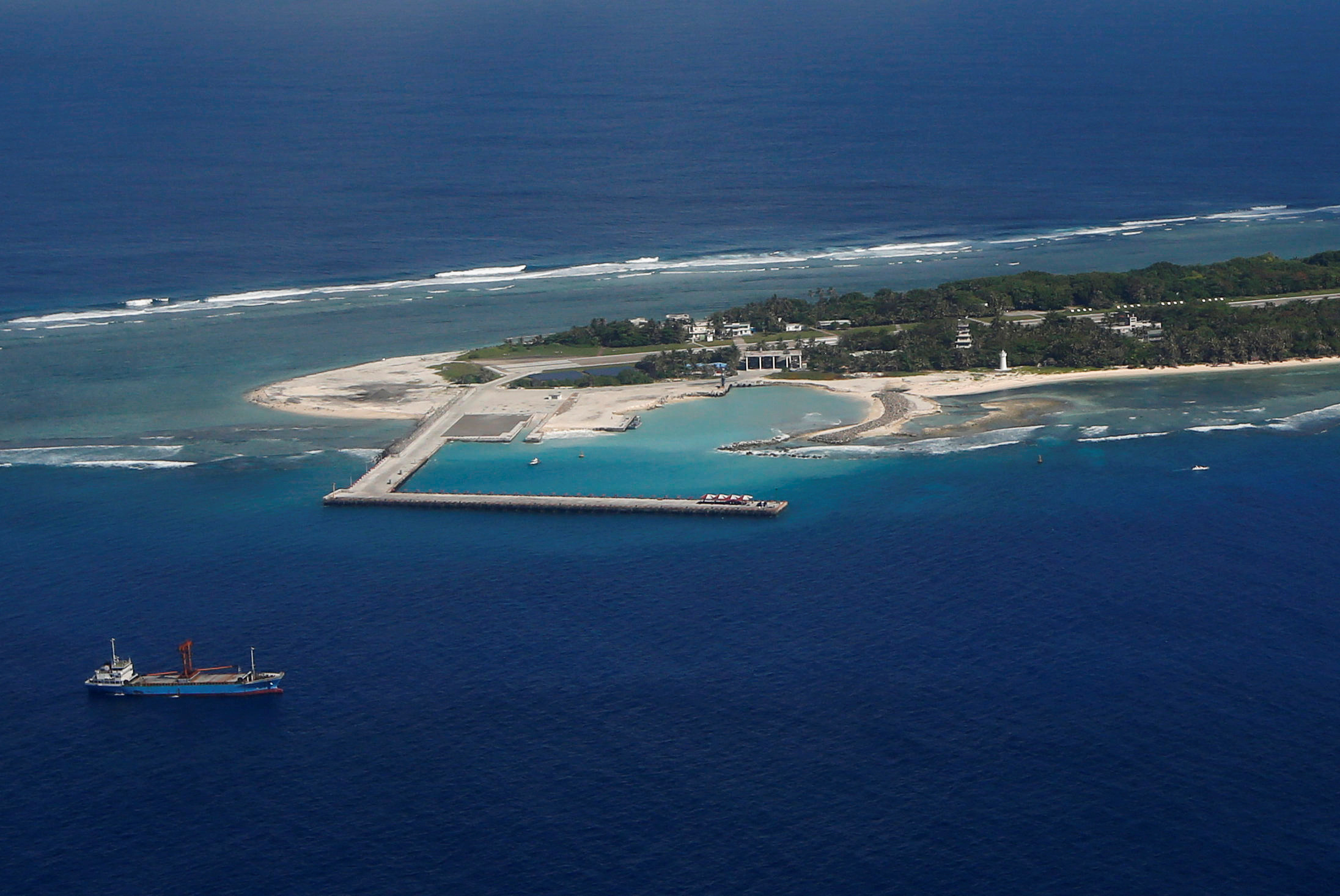 FILE - An aerial view shows Itu Aba, which the Taiwanese call Taiping, in the South China Sea.