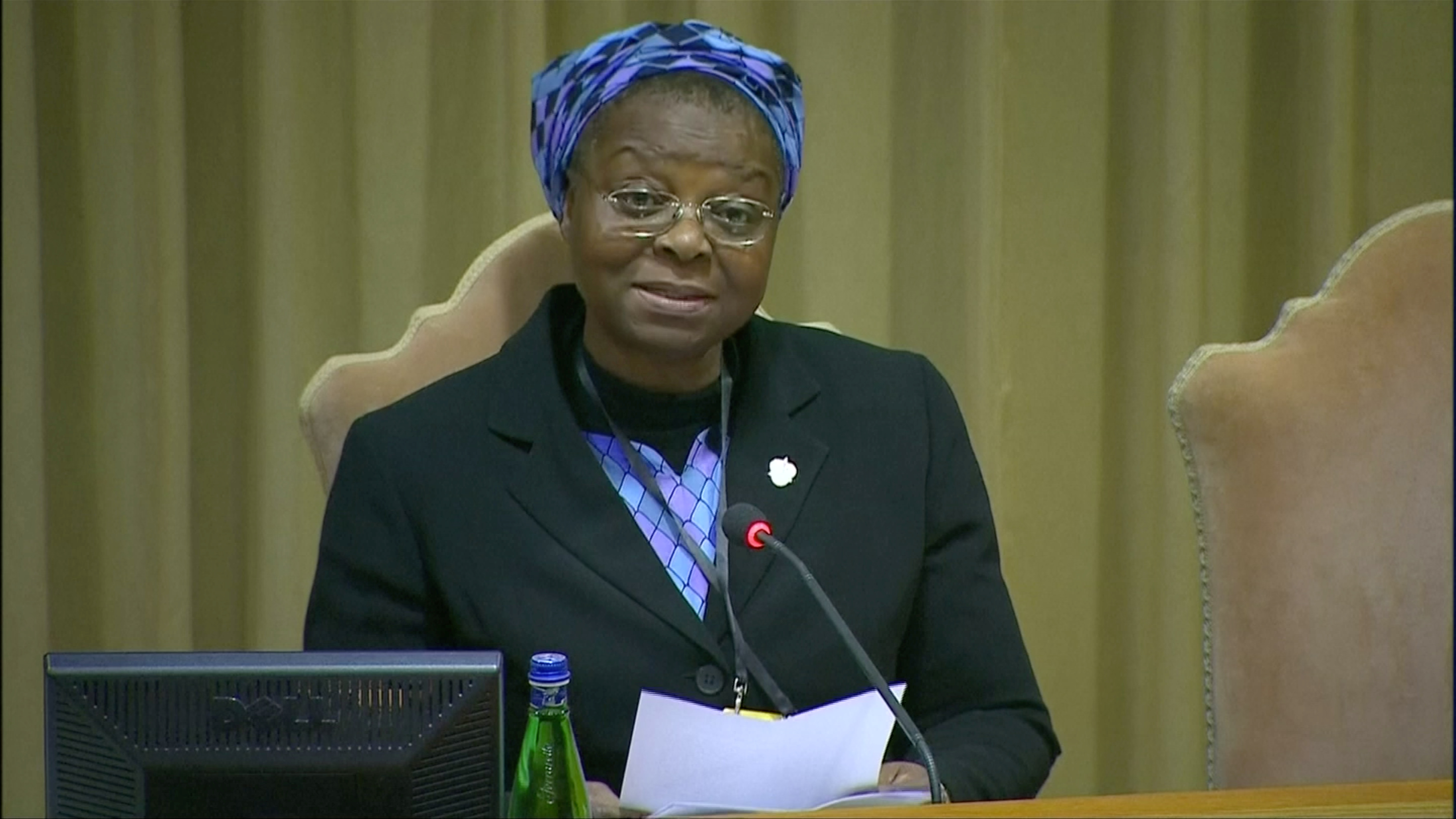 Sister Veronica Openibo speaks during the third day of the four-day meeting on the global sexual abuse crisis, at the Vatican, February 23, 2019, in this screen grab taken from video.