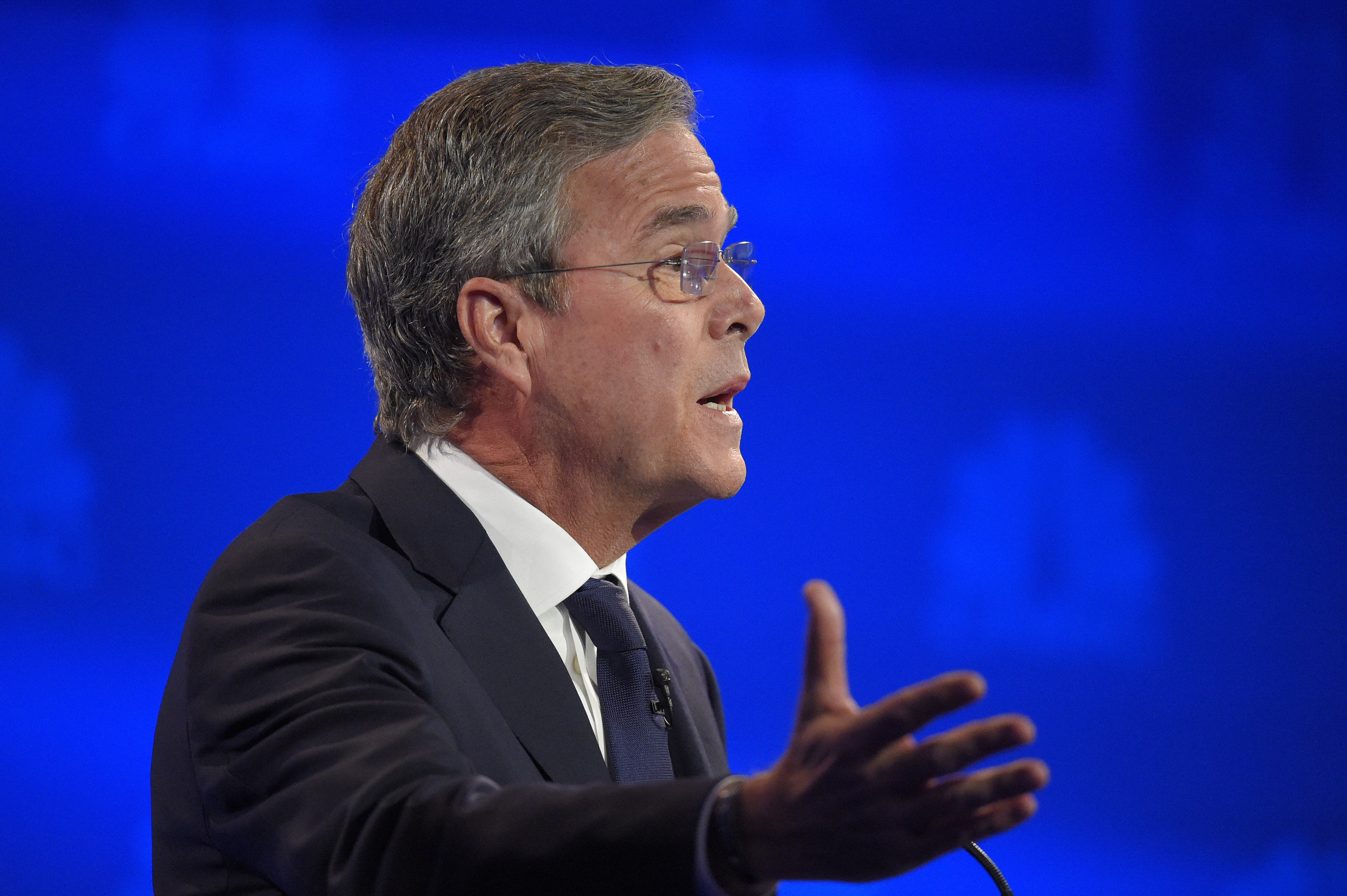 Jeb Bush speaks during the CNBC Republican presidential debate at the University of Colorado, Oct. 28, 2015, in Boulder, Colo.