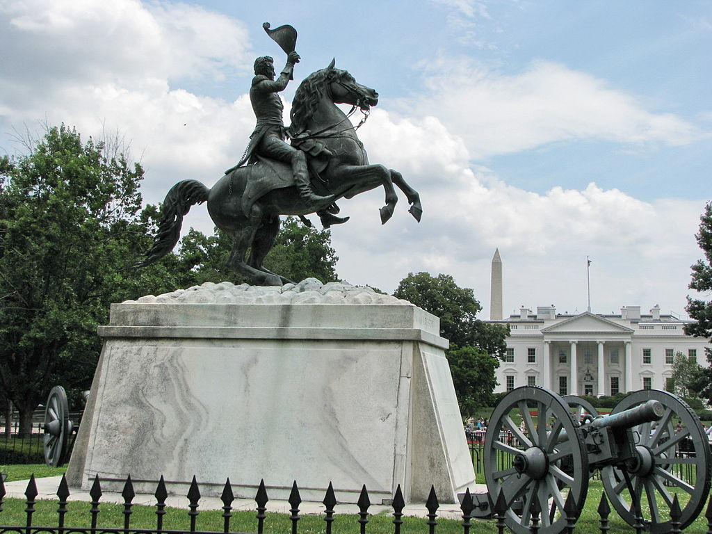 """Photo of Andrew Jackson statue, erected in 1853 in Lafayette Park opposite the White House in Washington, D.C.  Native Americans sometimes refer to the 7th U.S. President as """"Indian Killer."""""""