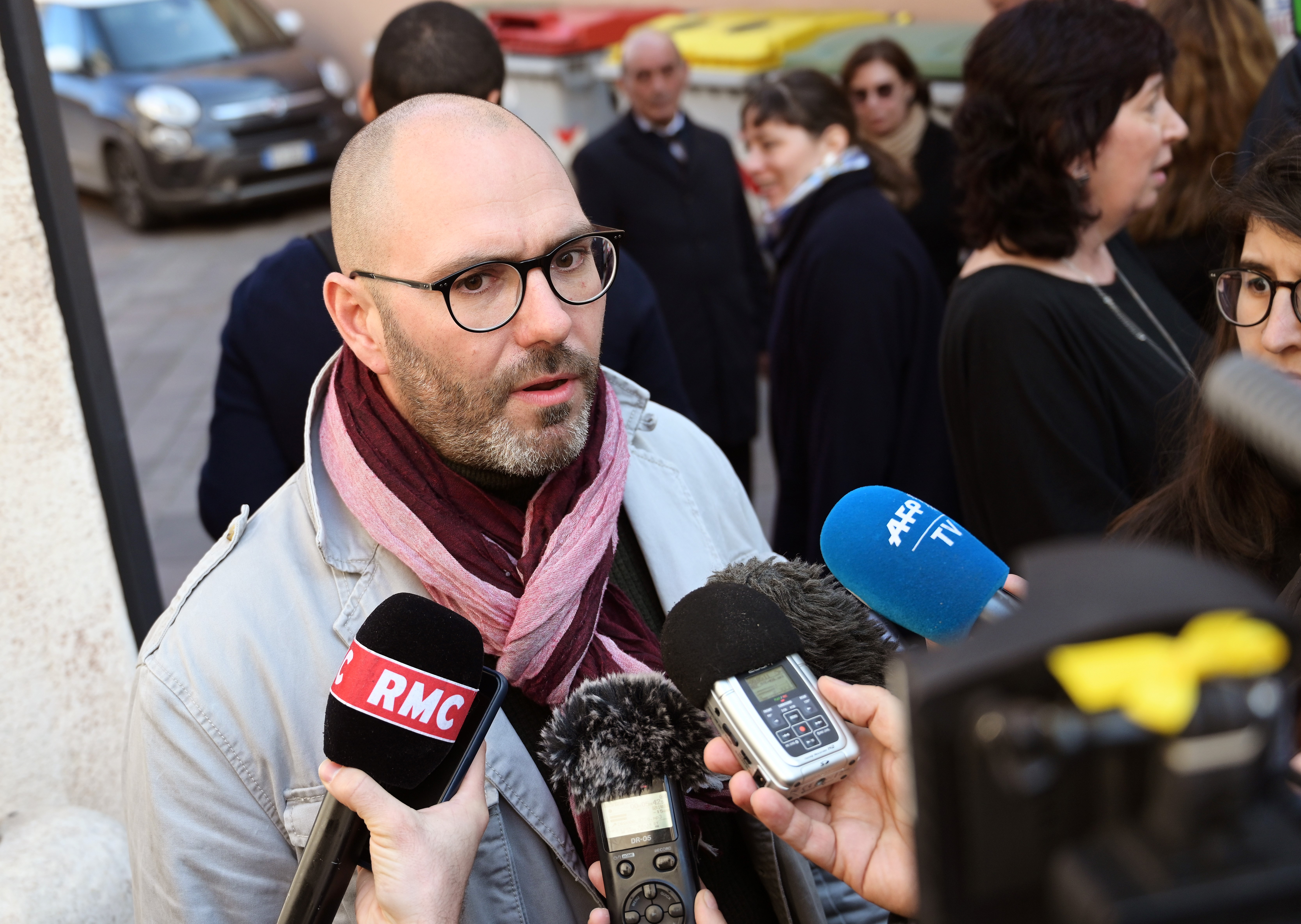 """French victim of sexual abuse, Francois Devaux, also president of the French association of victims of priests abuse """"La Parole Liberee"""" (Freed Speech), addresses the media outside the entrance of the Paul-VI residence at  the Vatican, Feb. 20, 2019...."""