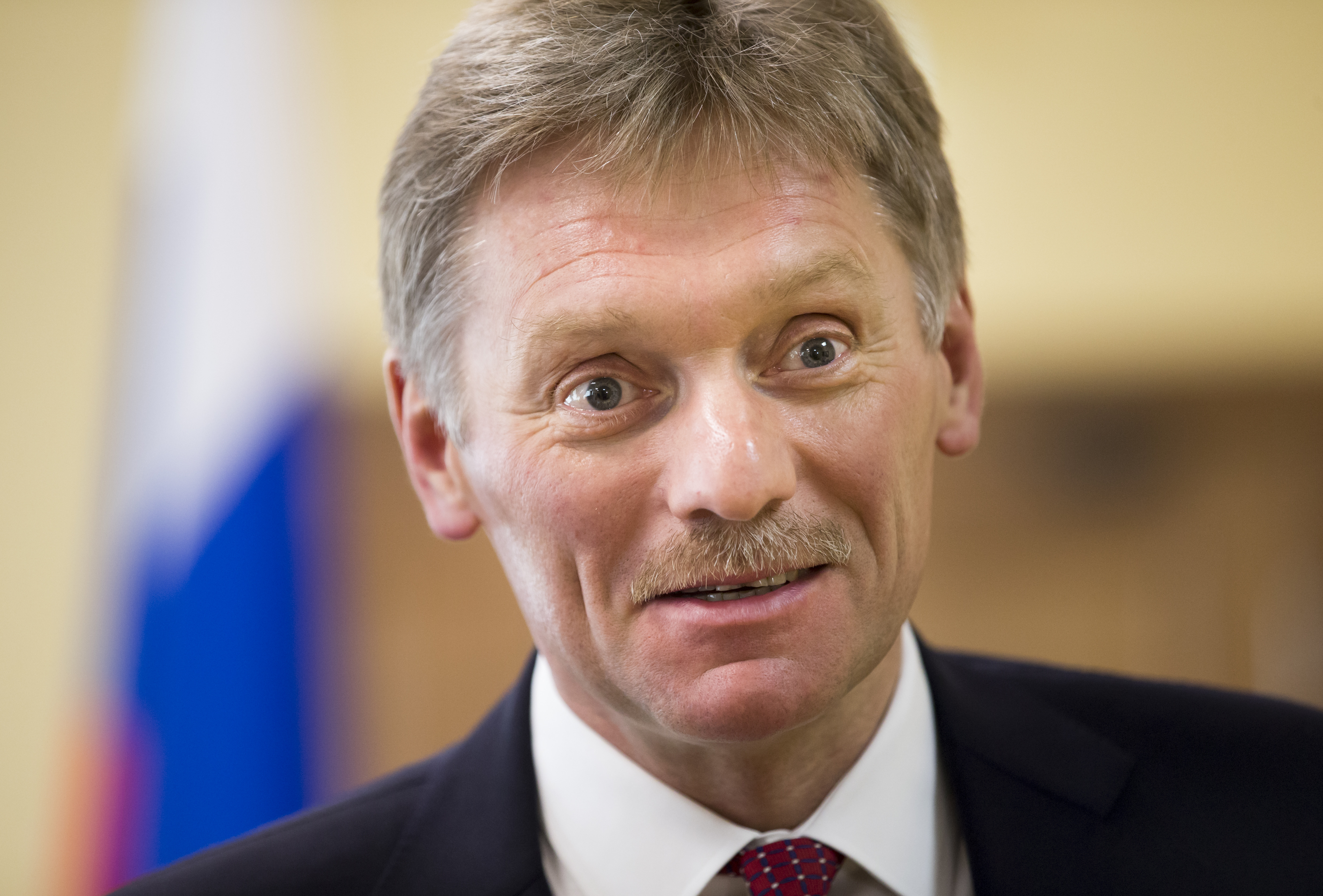 President Vladimir Putin's spokesman, Dmitry Peskov,  speaks to The Associated Press in Moscow, April 5, 2016. Peskov says the Russian leader has no connection whatsoever to offshore accounts mentioned in the so-called Panama Papers.