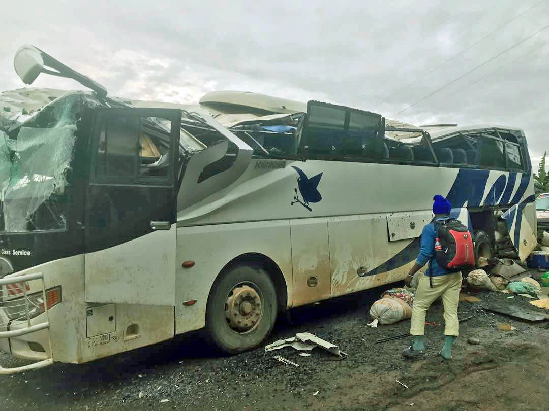A bus burned by separatists in Akum, Cameroon, Sept. 9, 2018.