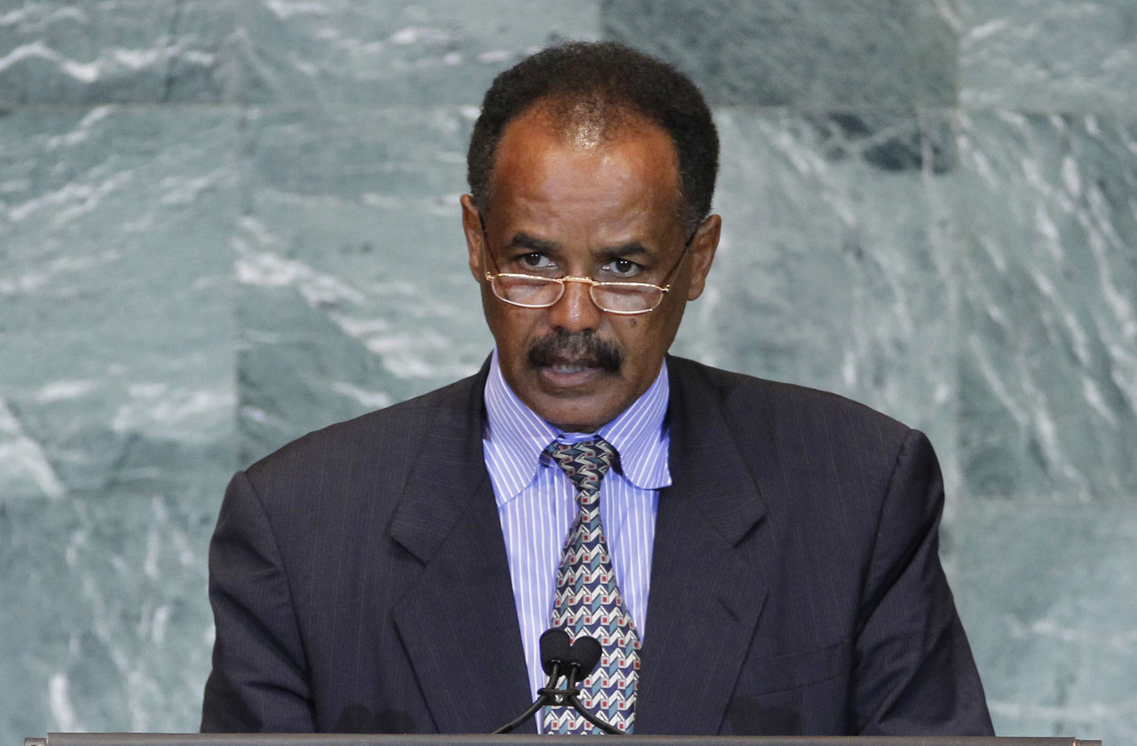 FILE - President Isaias Afwerki of Eritrea addresses the 66th session of the U.N. General Assembly at U.N. headquarters, Sept. 23, 2011. Afwerki is criticizing Israel's plan to deport tens of thousands of African migrants, saying they deserve far mor