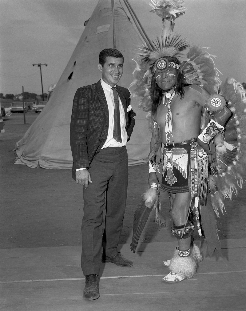 "Danny Williams, left, and George ""Woogie"" Watchtaker (Comanche) at the American Indian Exposition. Anadarko, Oklahoma, ca. 1959. 45EXP17. © 2014 Estate of Horace Poolaw.  Reprinted with permission."