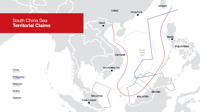 South China Sea territorial claims map