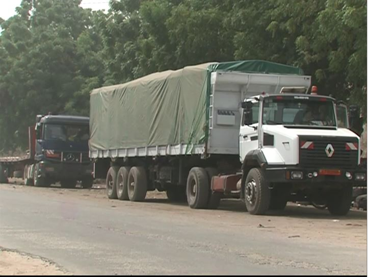 Trucks suspected of transporting fuel illegally to the Central African Republic are seen in the Cameroon border town of Garoua Boulaye, near C.A.R., Feb. 26, 2019.