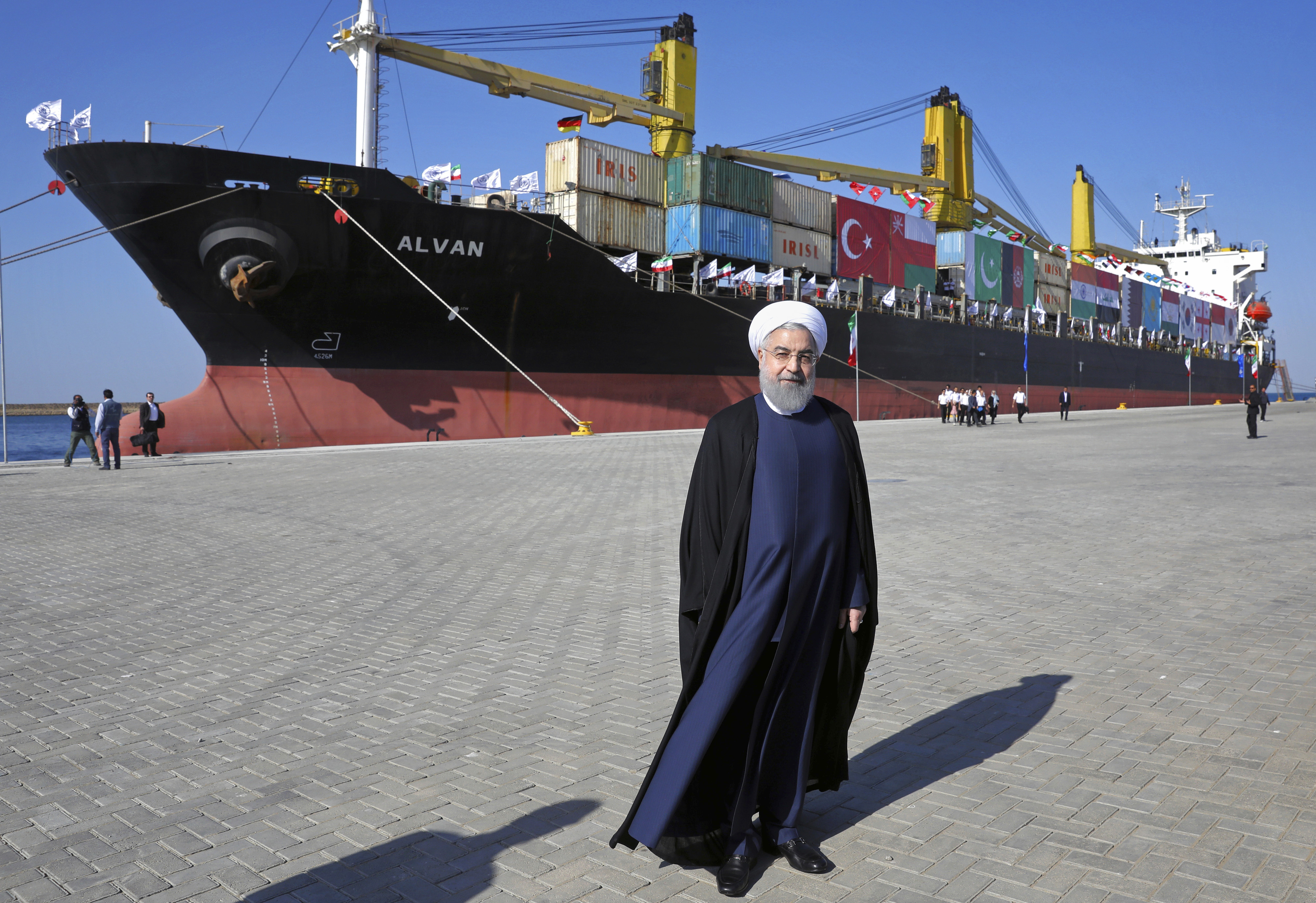 FILE - Iranian President Hassan Rouhani poses during the inauguration of a newly built extension of the port of Chabahar, near the Pakistani border, on the Gulf of Oman, southeastern Iran, Dec. 3, 2017. The $340 million project was constructed by a R...