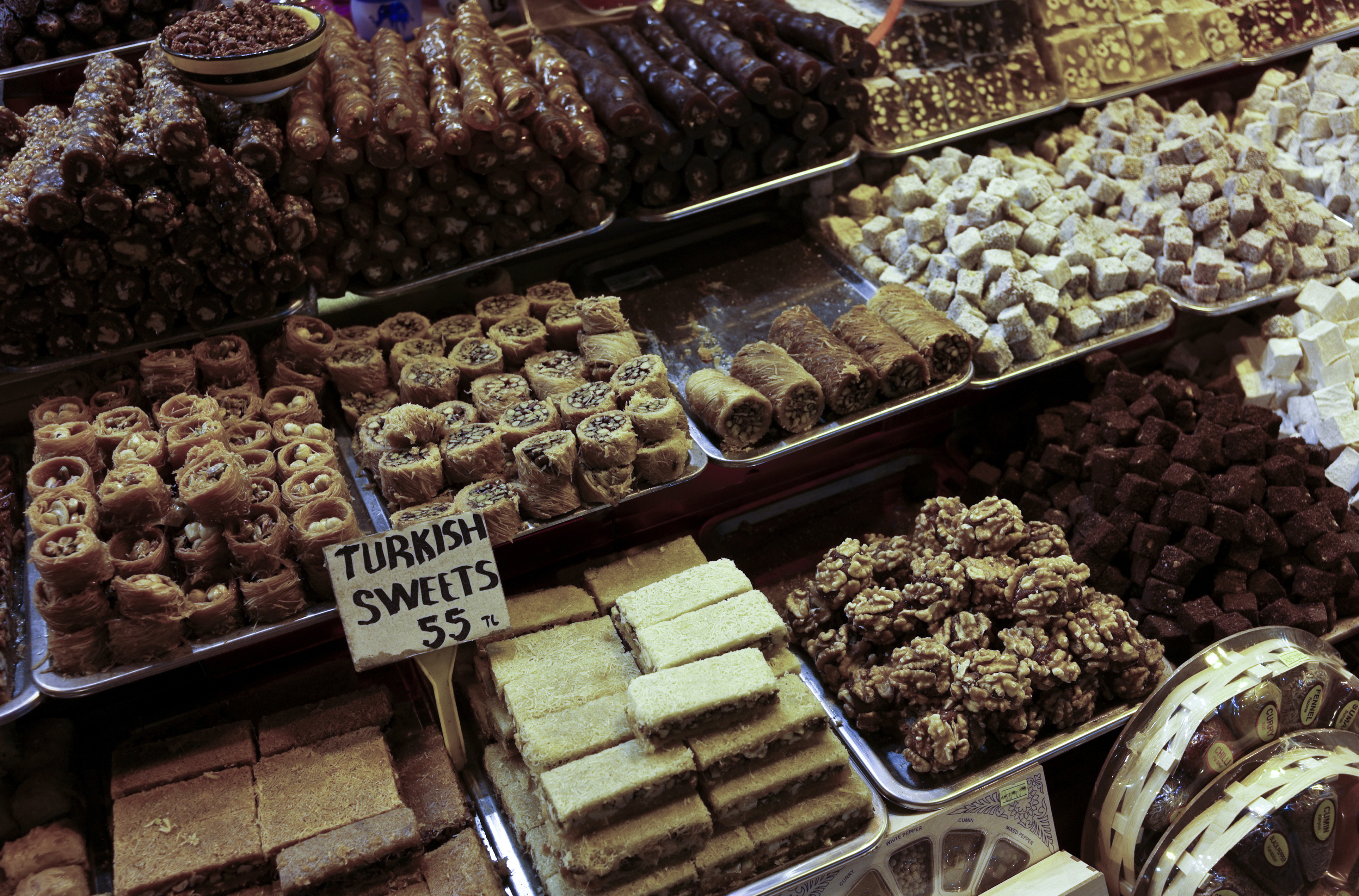 FILE - The Egyptian Bazaar is shown with stalls beautifully displaying spices, dried fruit and nuts, in Istanbul, Turkey, Oct. 29, 2013. Russia is tightening restrictions on Turkish imports as tensions remain high between the two countries.