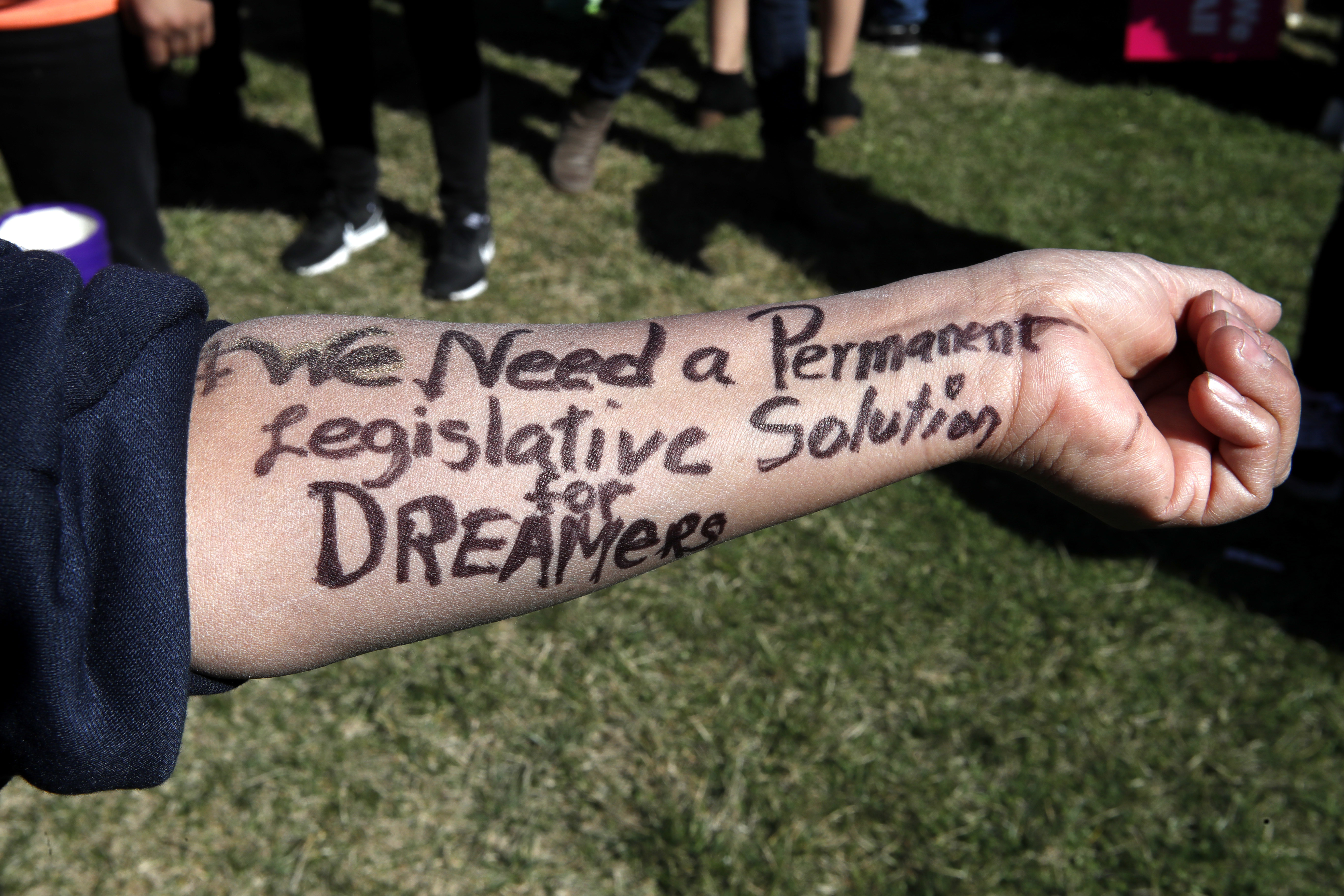 "Ivon Meneses of Las Vegas wrote ""We need a permanent legislative solution for Dreamers"" on her arm as she and other supporters of the Deferred Action for Childhood Arrivals program attended an action in support of DACA recipients, March 5, 2018, on C..."