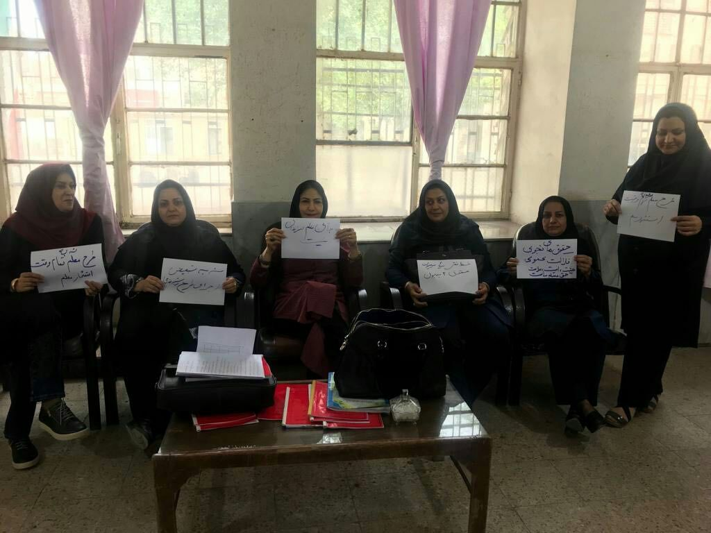 Female Iranian teachers stage a sit-in at a school in the southern city of Ahvaz to demand better working conditions, Nov. 14, 2018, in this image sent to VOA's Kurdish Service.
