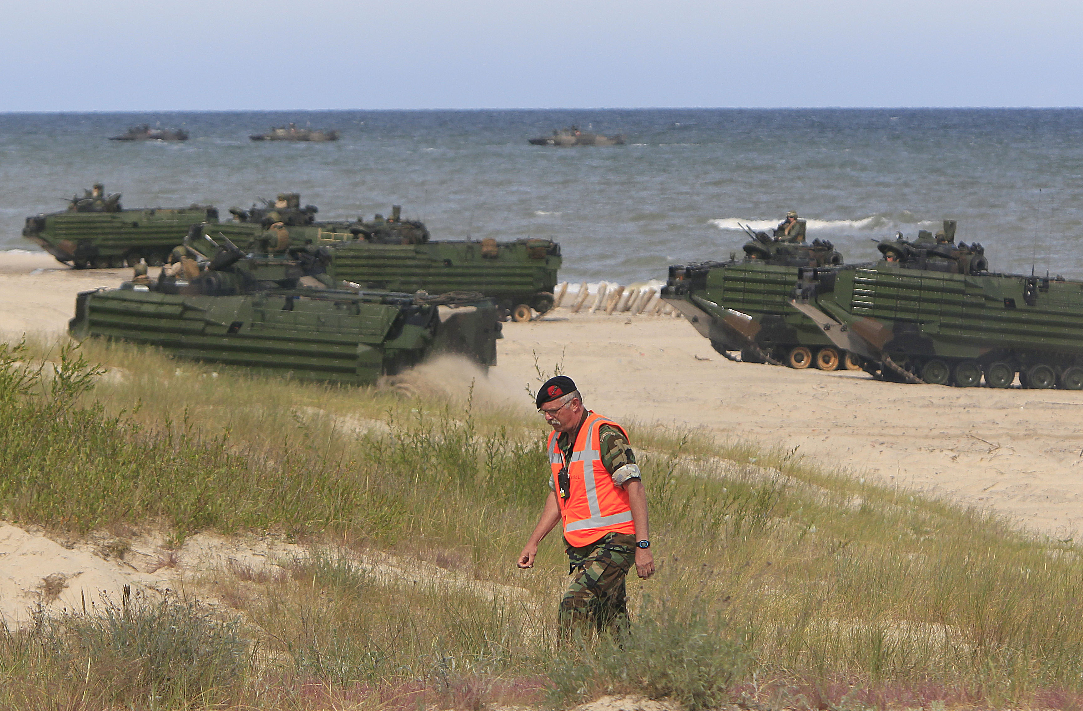 NATO troops make a massive amphibious landing during NATO sea exercises BALTOPS 2015 that are to reassure the Baltic Sea region allies in the face of a resurgent Russia, in Ustka, Poland, June 17, 2015.