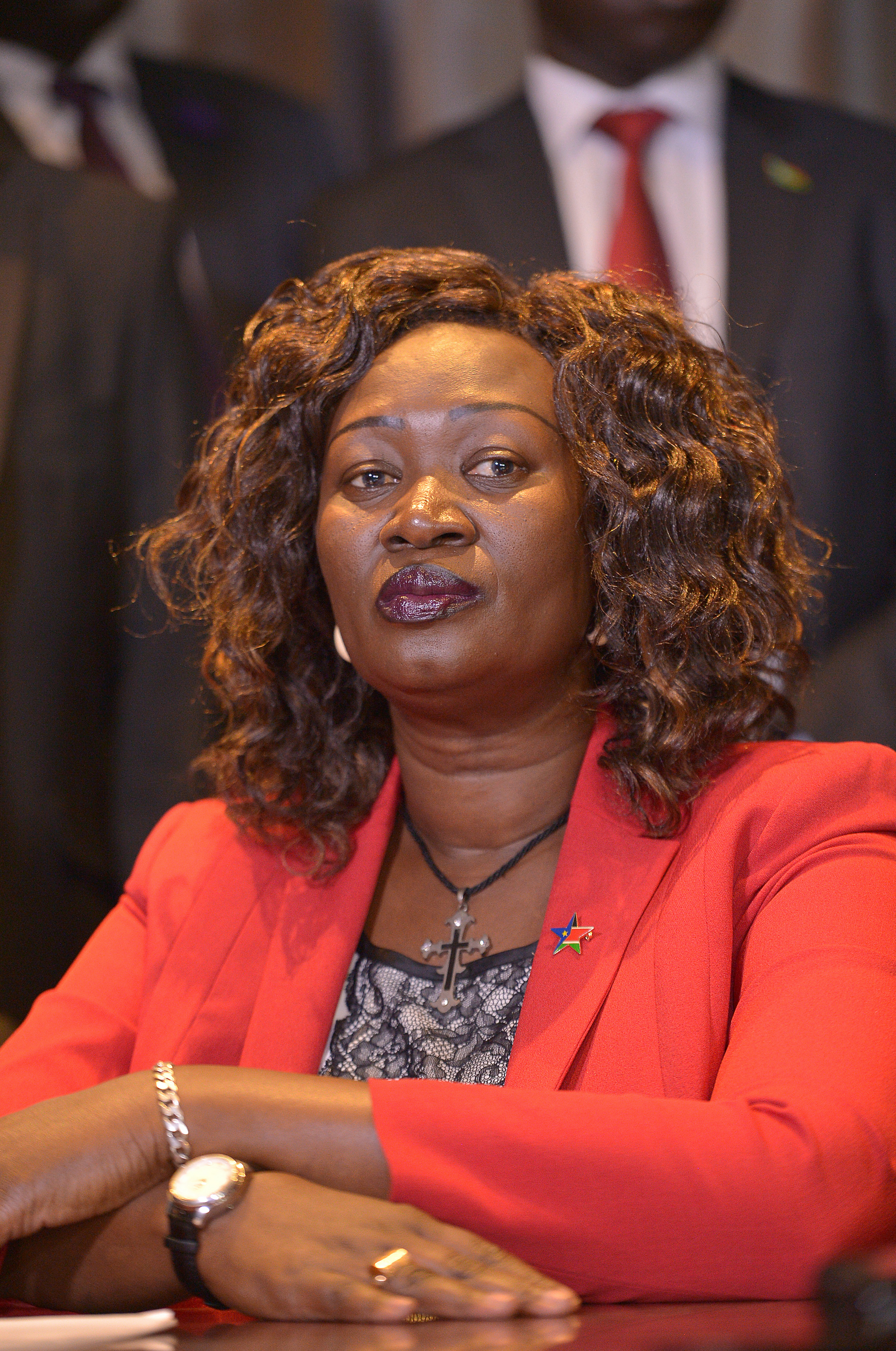 South Sudan Minister for Gender and Social Development Awut Deng Acuil  takes part in a press conference on Aug. 17, 2016 in the Kenyan capital of Nairobi.