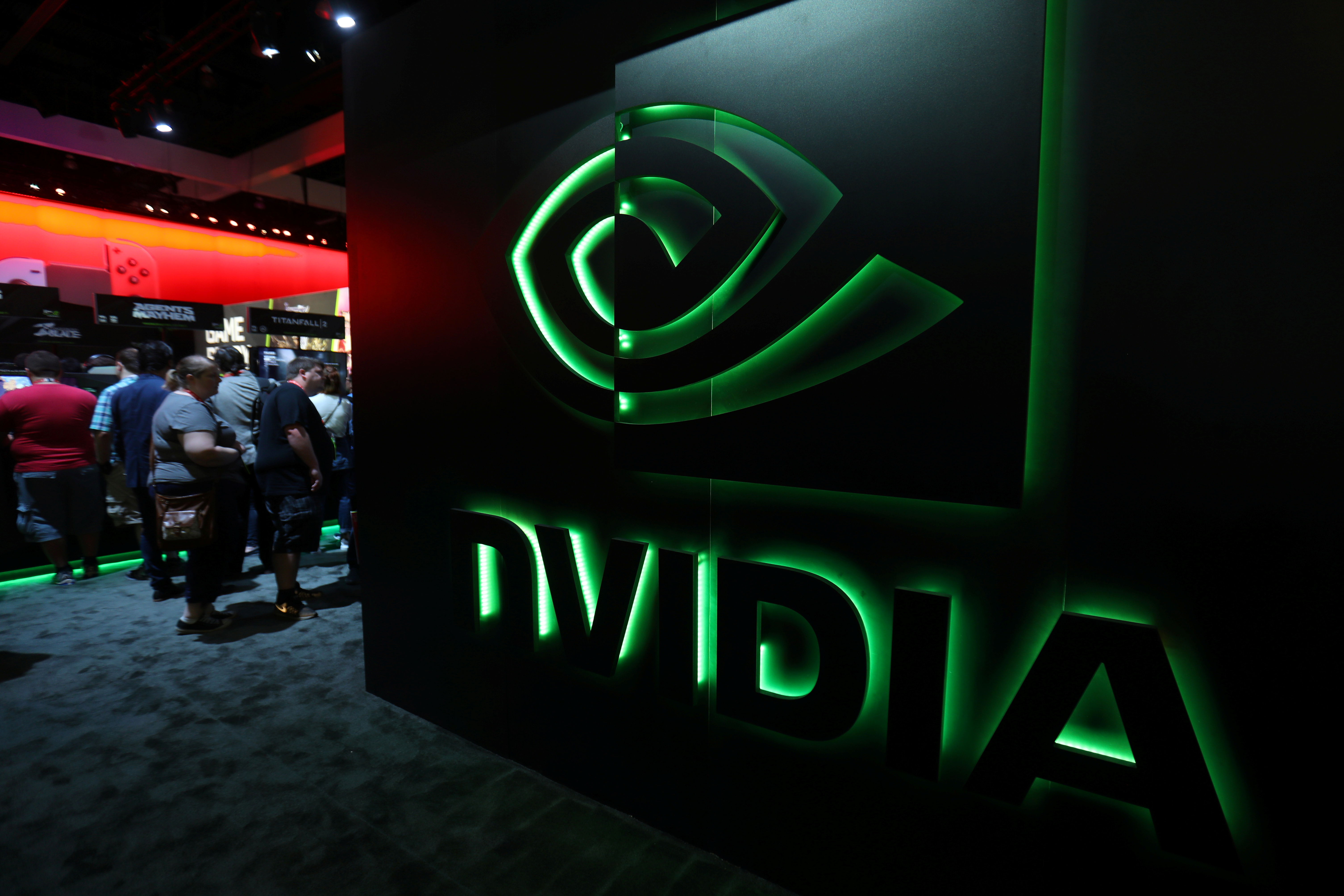 FILE - The Nvidia booth is shown at the E3 2017 Electronic Entertainment Expo in Los Angeles, June 13, 2017.