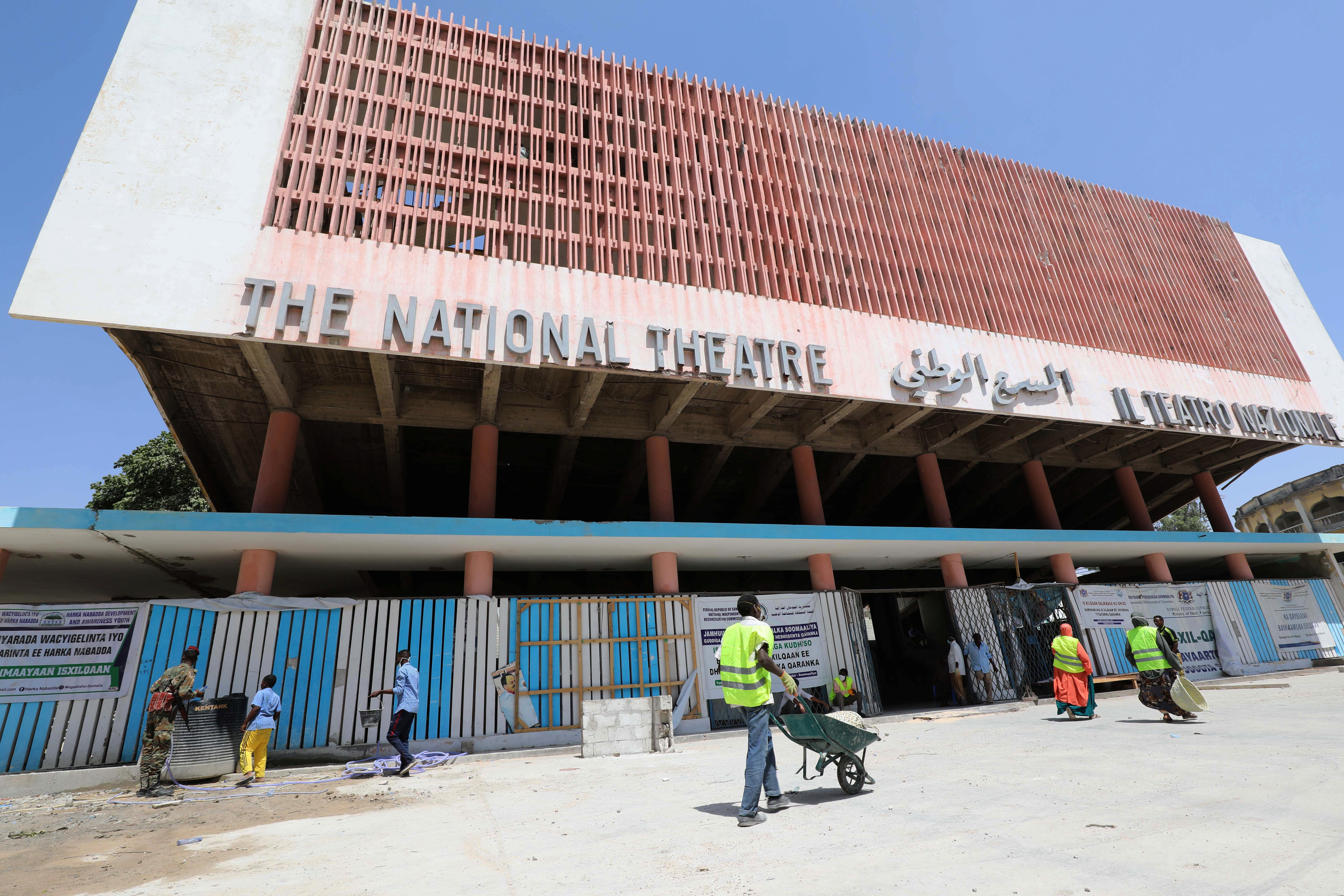 Construction workers are seen during the renovation project of Somalia's National Theatre in Mogadishu, Somalia February 3, 2019. Picture taken February 3, 2019.
