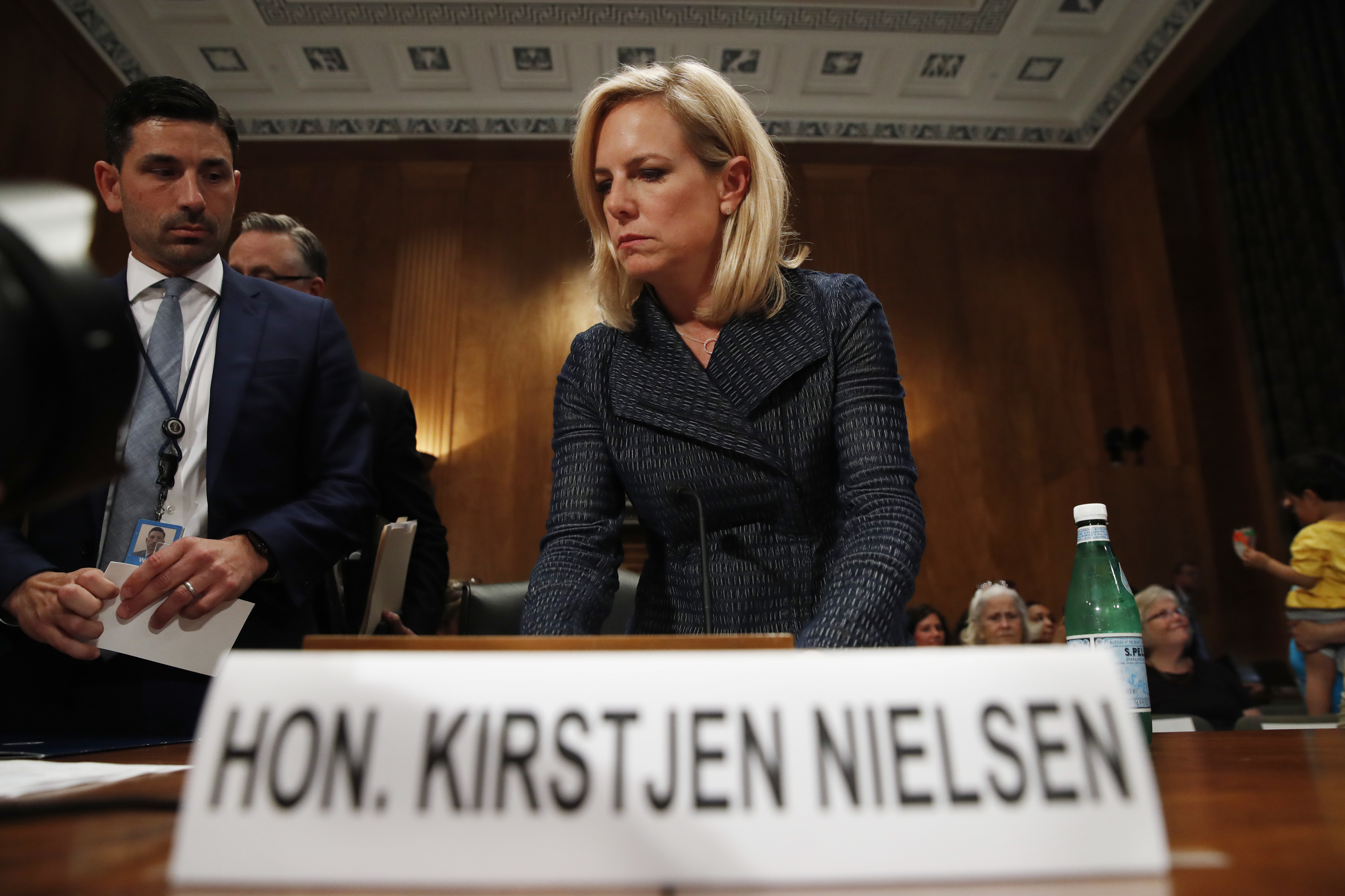 "Homeland Security Secretary Kirstjen Nielsen arrives to testify to the Senate Homeland Security Committee, May 15, 2018, on Capitol Hill in Washington. Nielsen told the committee that DHS needed ""clear legal authority to identify, track and mitigate ..."
