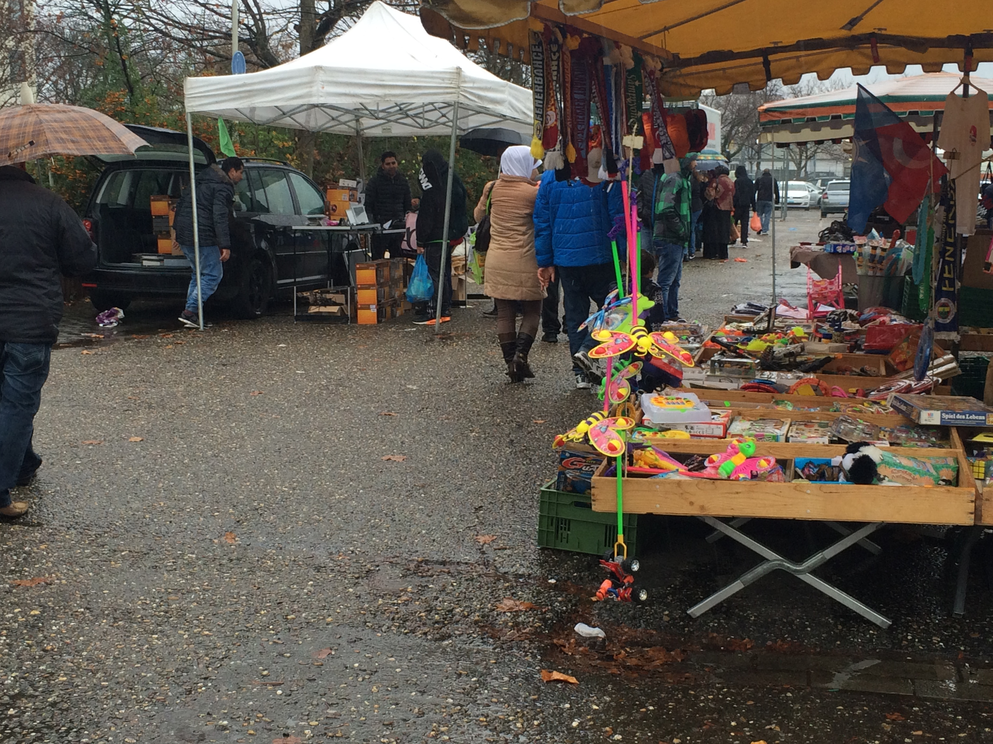 This market in Mannheim, Germany, is popular among refugees because it sells used items, and items discounted because they are not selling well in stores, Nov. 22, 2015.