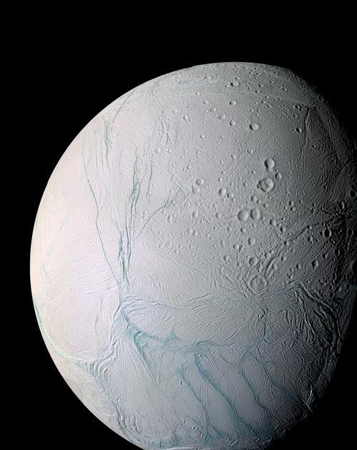 Enceladus, one of moons of Saturn, as seen by NASA's Cassini spacecraft. (NASA)