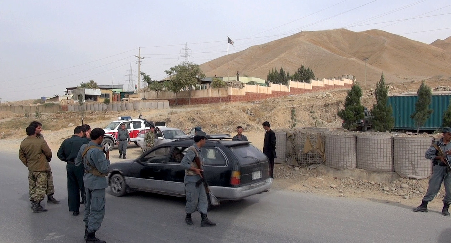 A police checkpoint near Pul e Khumri, 107 kilometers south of Kunduz, Afghanistan, which was attacked by Taliban forces earlier this month.
