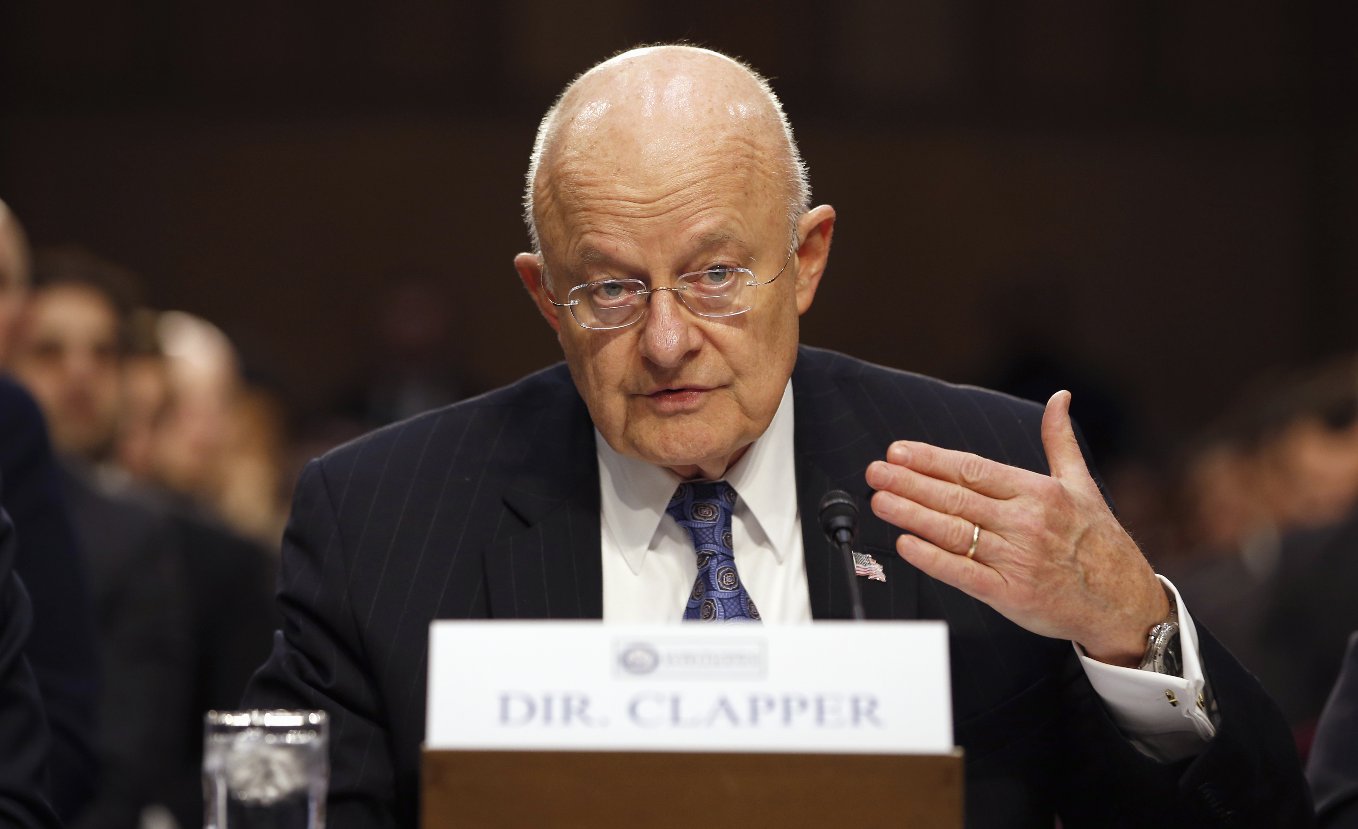 Director of the National Intelligence James Clapper testifies on Capitol Hill in Washington, Feb. 9, 2016.