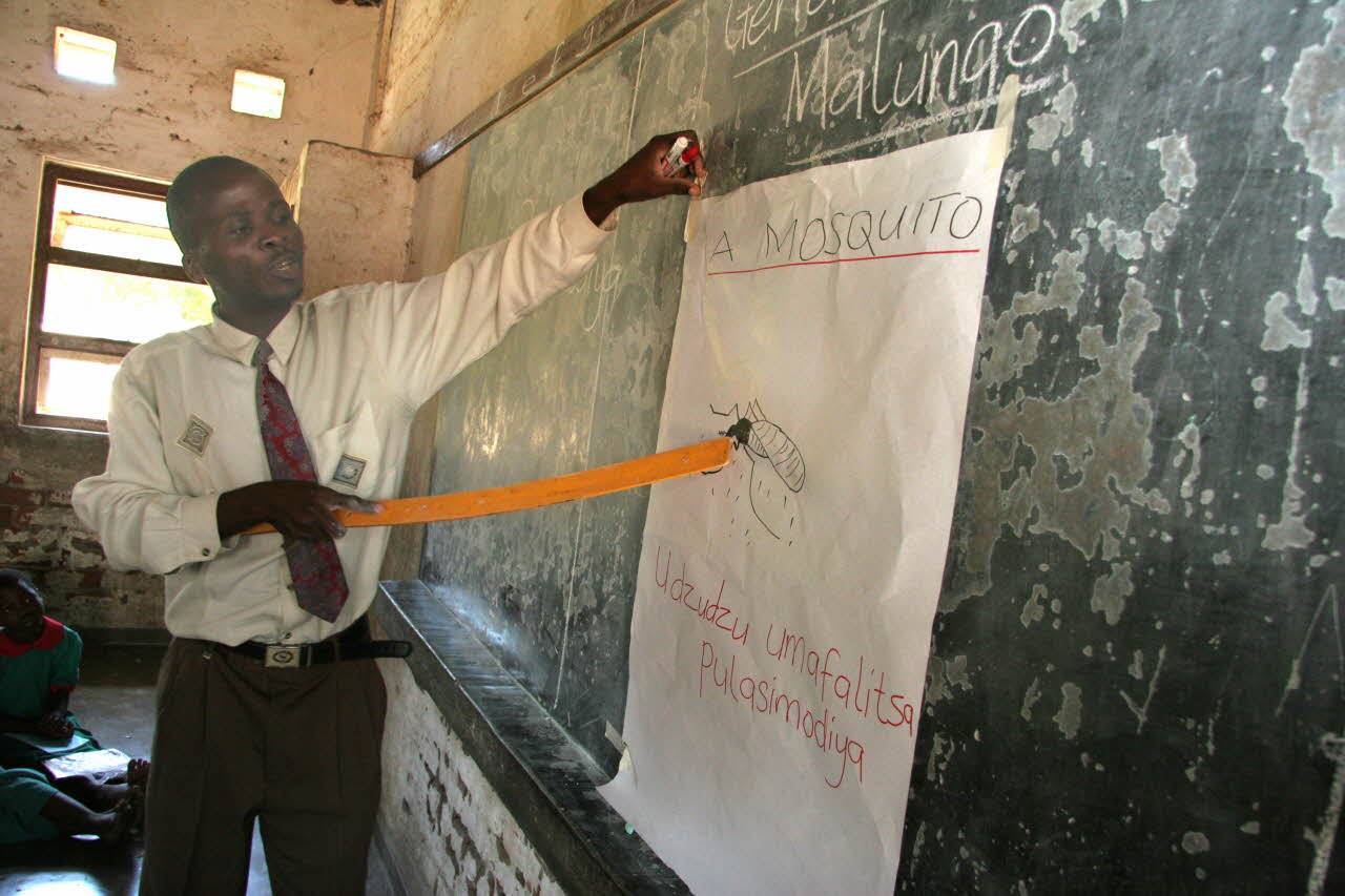 In Malawi, children learn about malaria and mosquitoes in school classes. A teacher explains about mosquitoes and malaria.