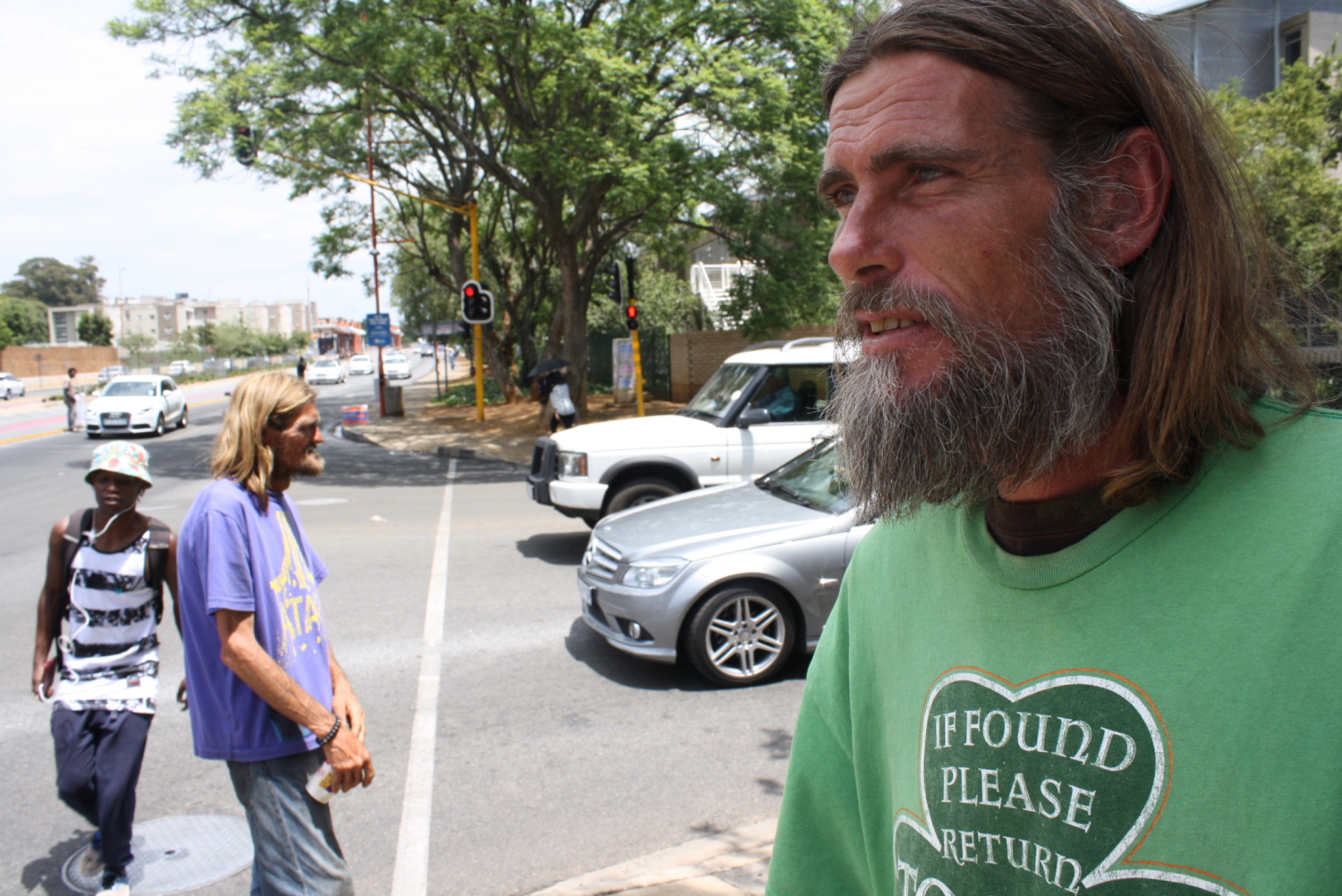 Homeless man Donovan Hermans at an intersection in Johannesburg that's notorious for road crashes.