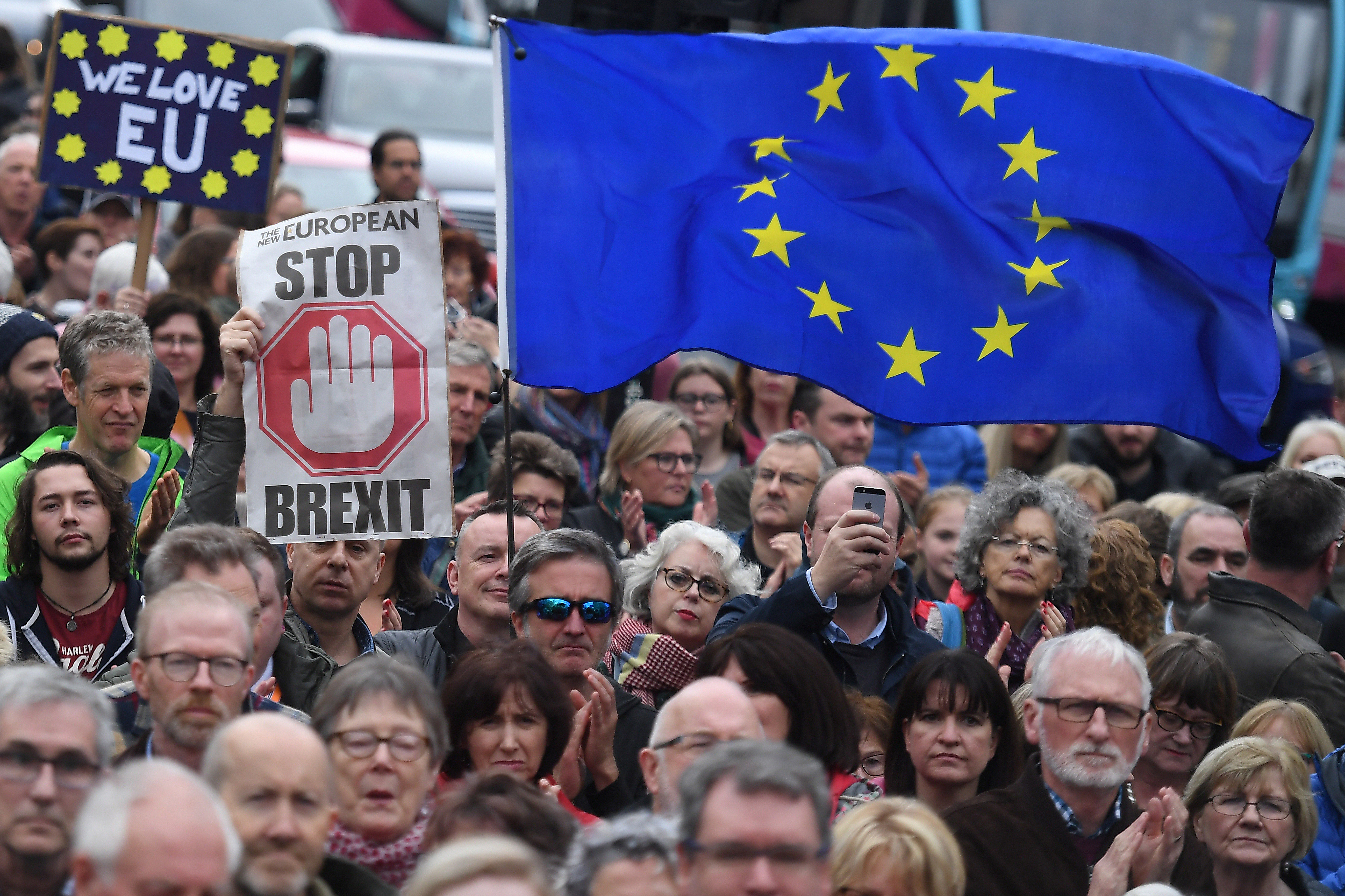 Protesters participate in an anti-Brexit demonstration at City Hall