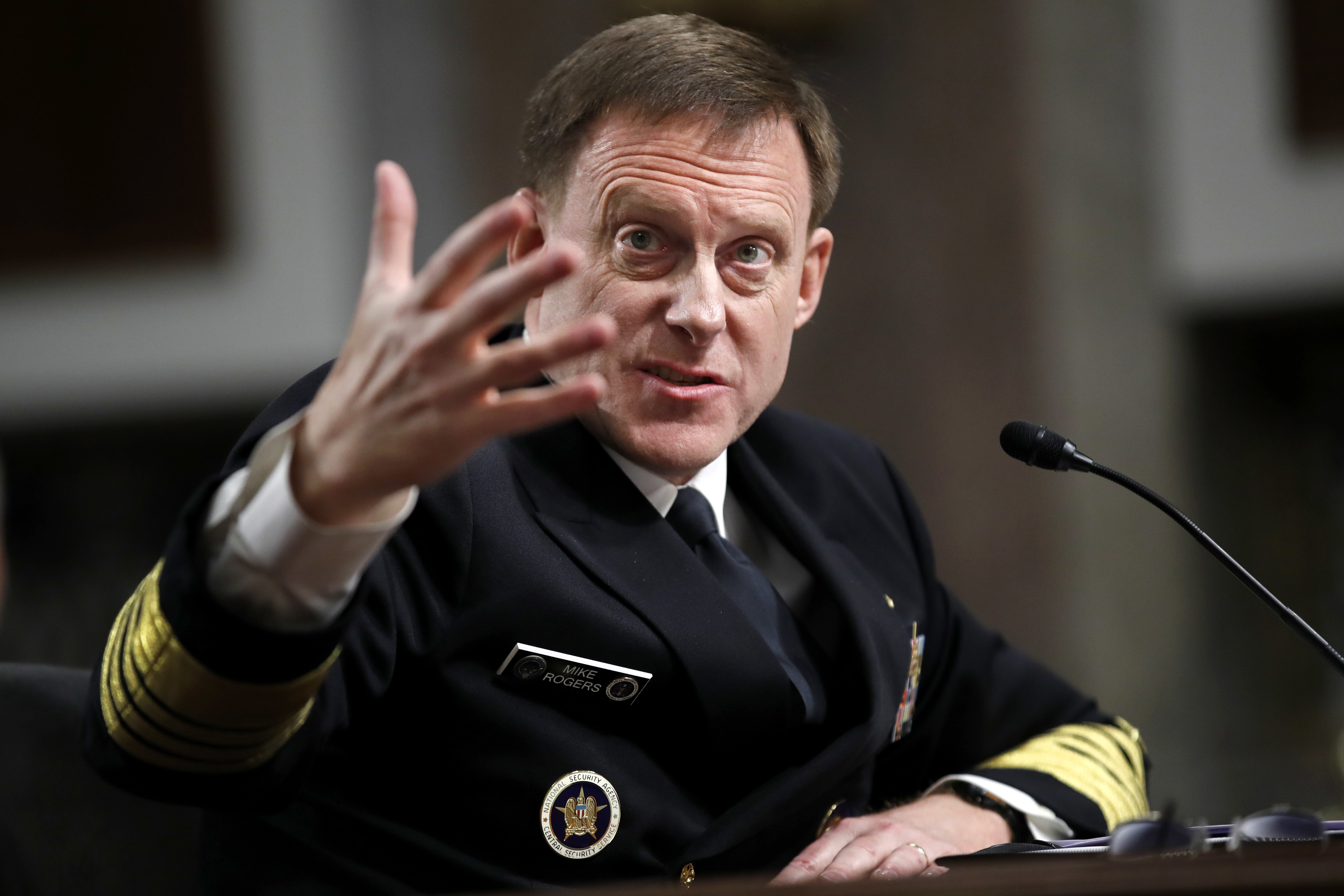 U.S. Cyber Command and the National Security Agency Director Adm. Mike Rogers testifies on Capitol Hill in Washington, Tuesday, May 9, 2017, before the Senate Armed Services Committee. Rogers said the U.S. watched Russians penetrate France's infrastr...