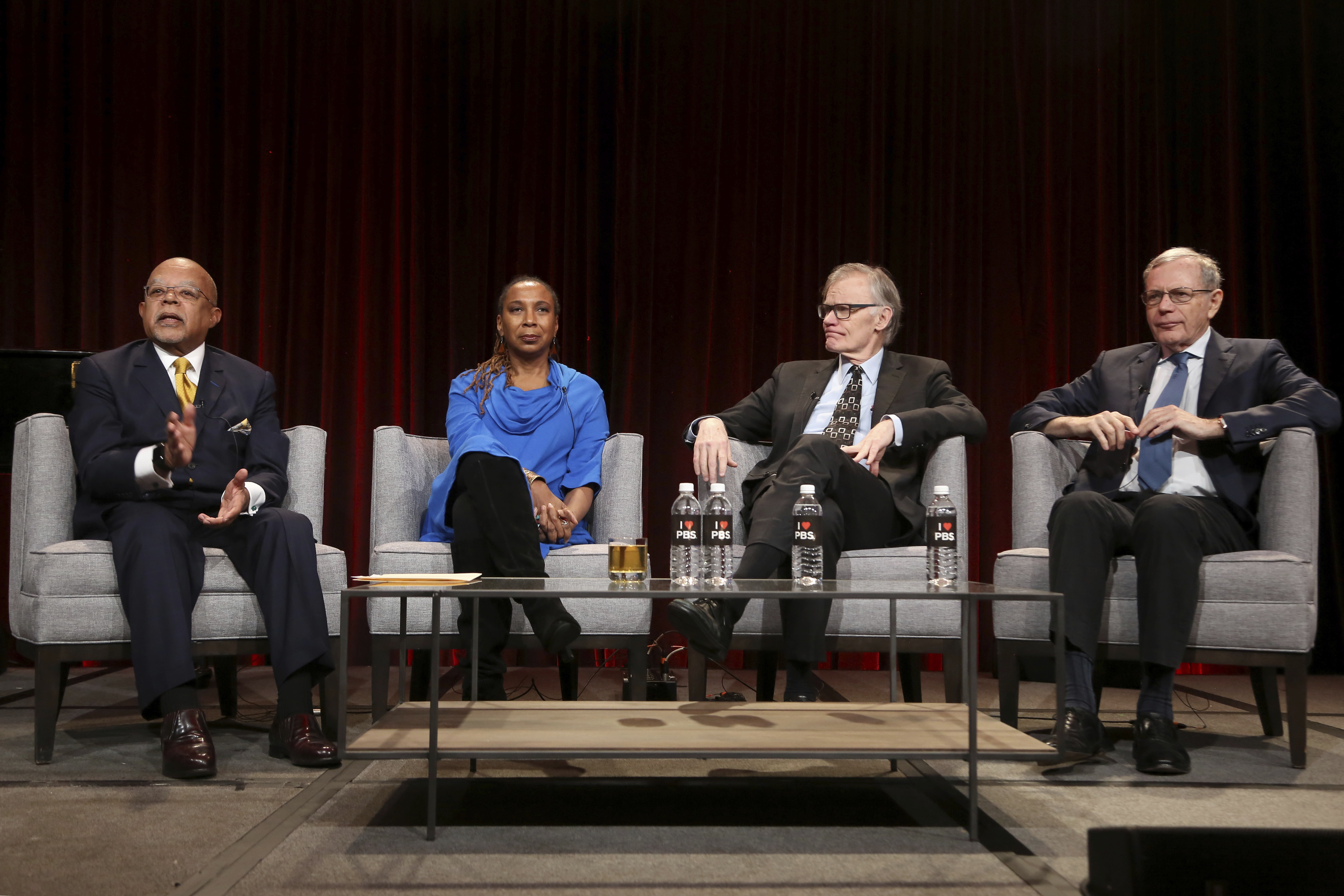 """From left, Henry Louis Gates Jr., Kimberle Crenshaw, David W. Blight and Eric Foner participate in the 'Reconstruction: America After Civil War"""" panel during the PBS presentation at the Television Critics Association Winter Press Tour, Feb. 2, 2019, ..."""
