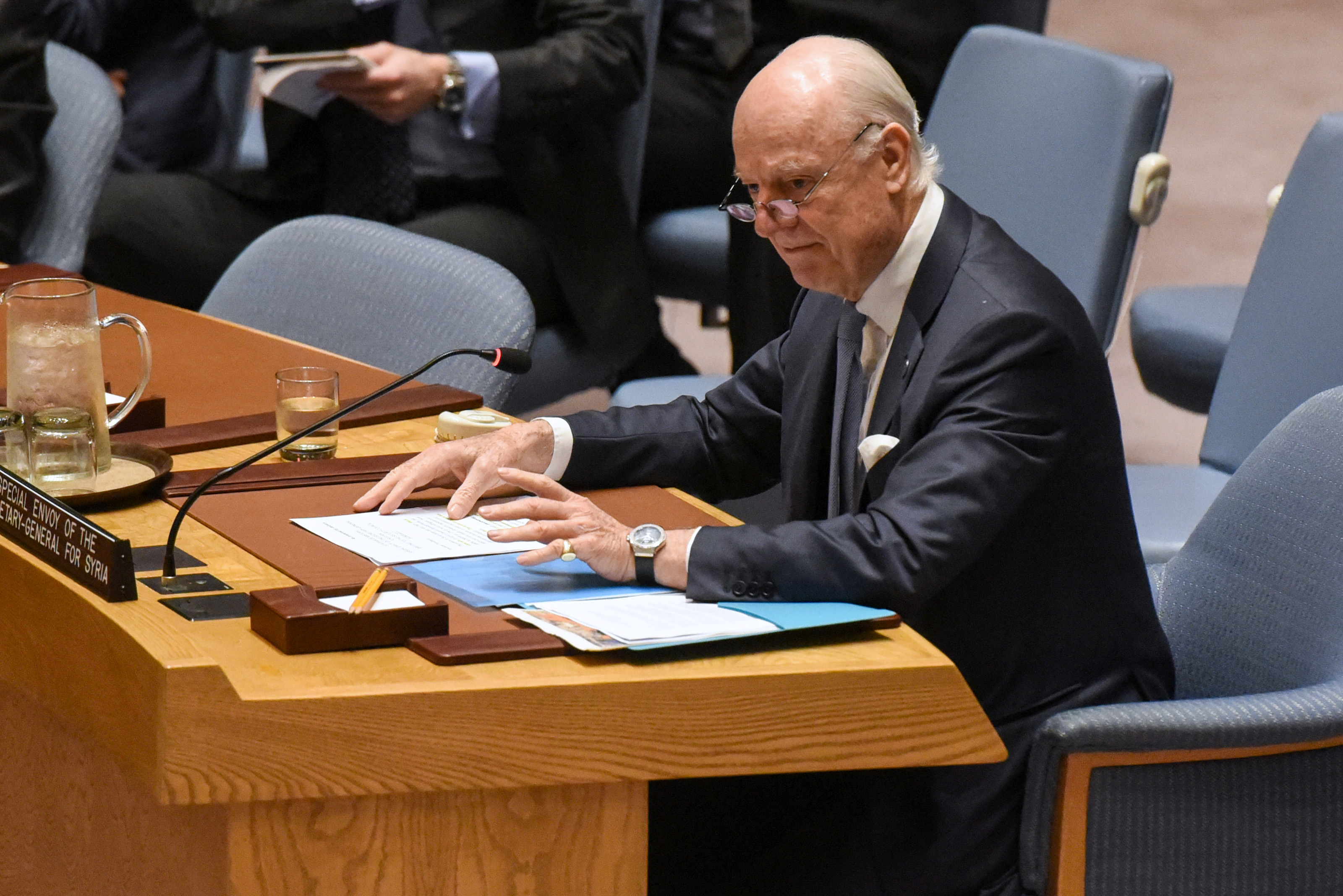 FILE - U.N. Special Envoy to Syria Staffan de Mistura delivers remarks at a Security Council meeting on the situation in Syria at the United Nations headquarters in New York, April 12, 2017.